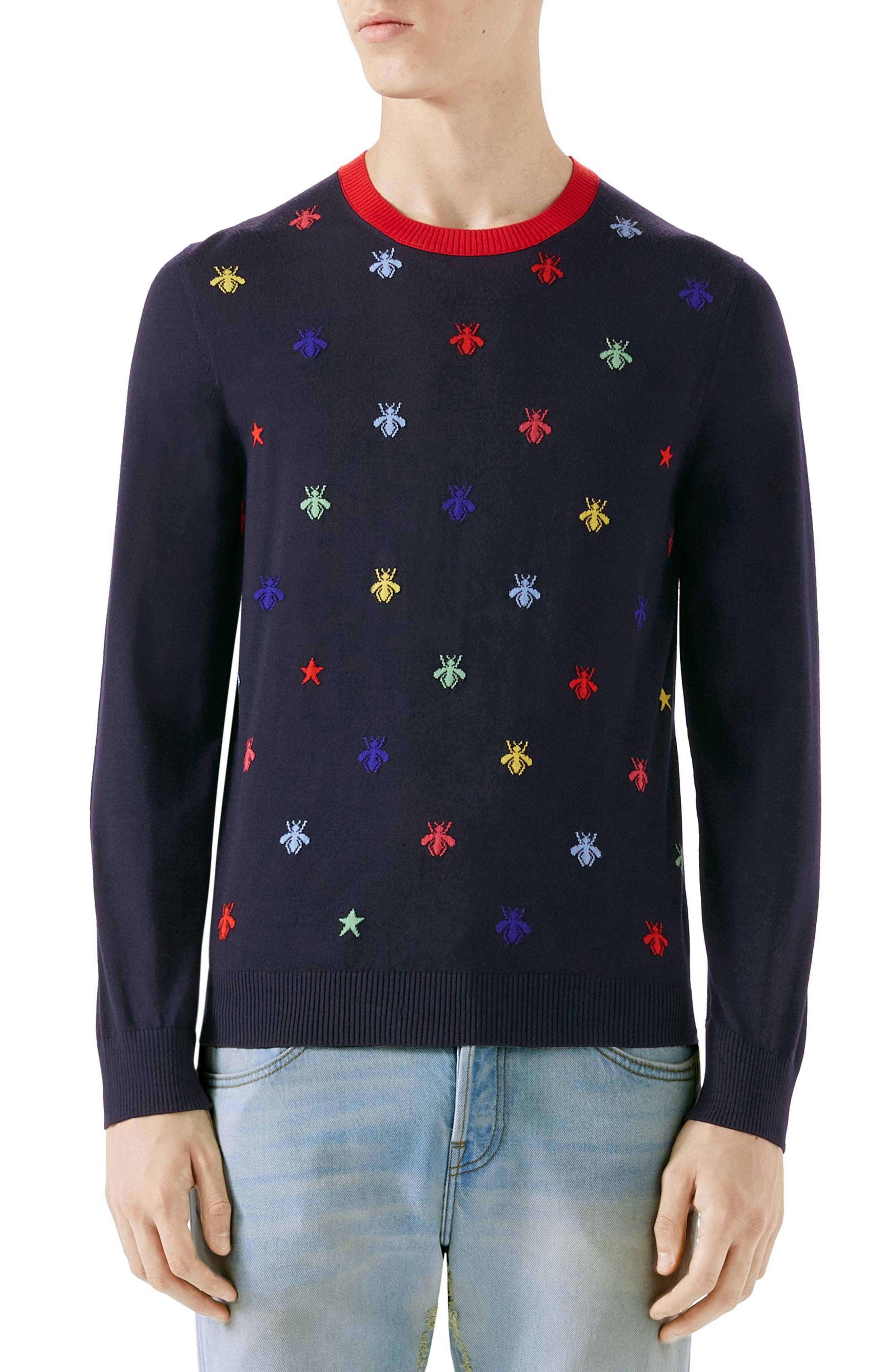 Bee Embroidered Wool Crewneck Sweater,                         Main,                         color, INK