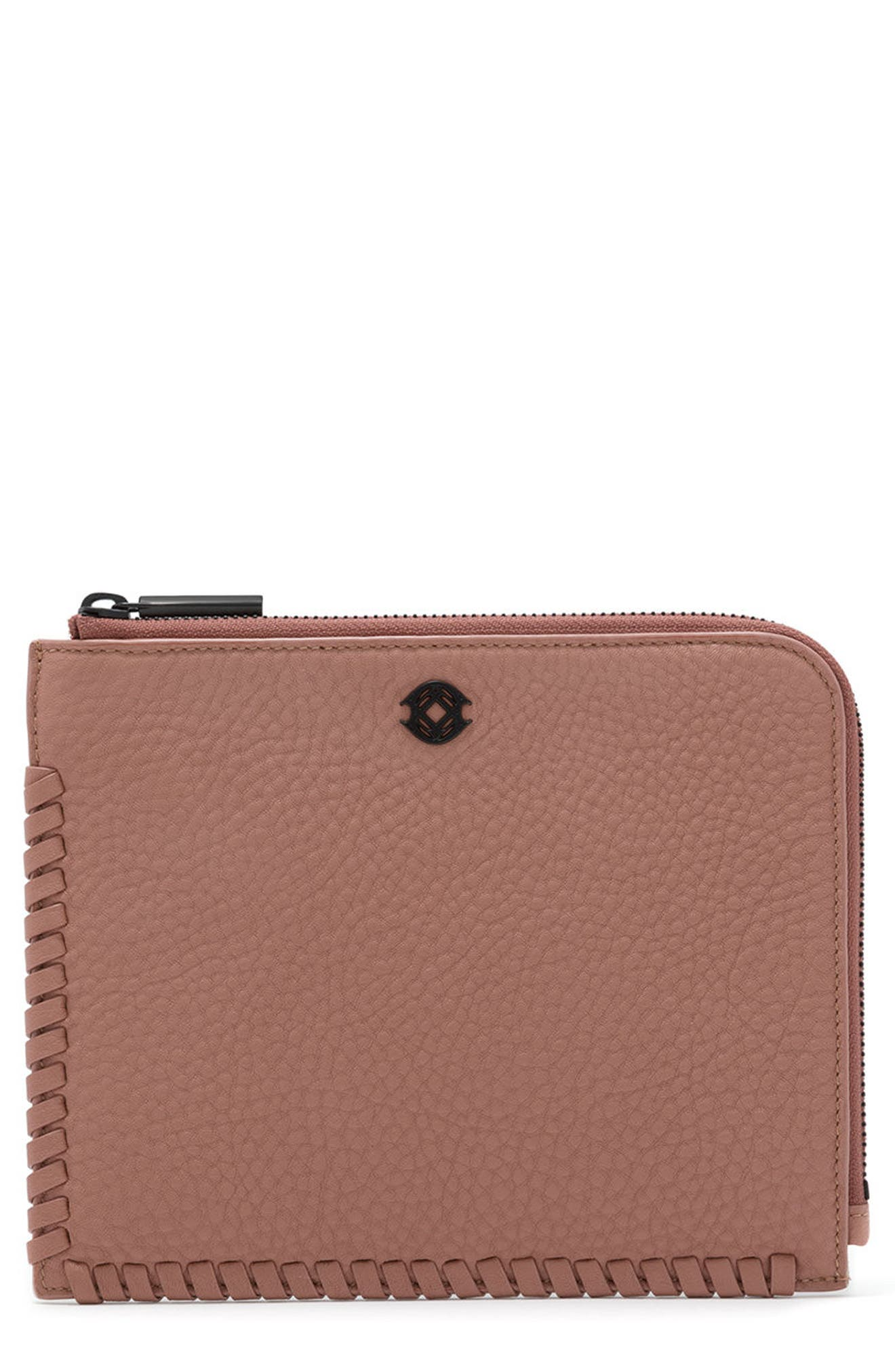 Small Elle Leather Clutch,                             Main thumbnail 6, color,