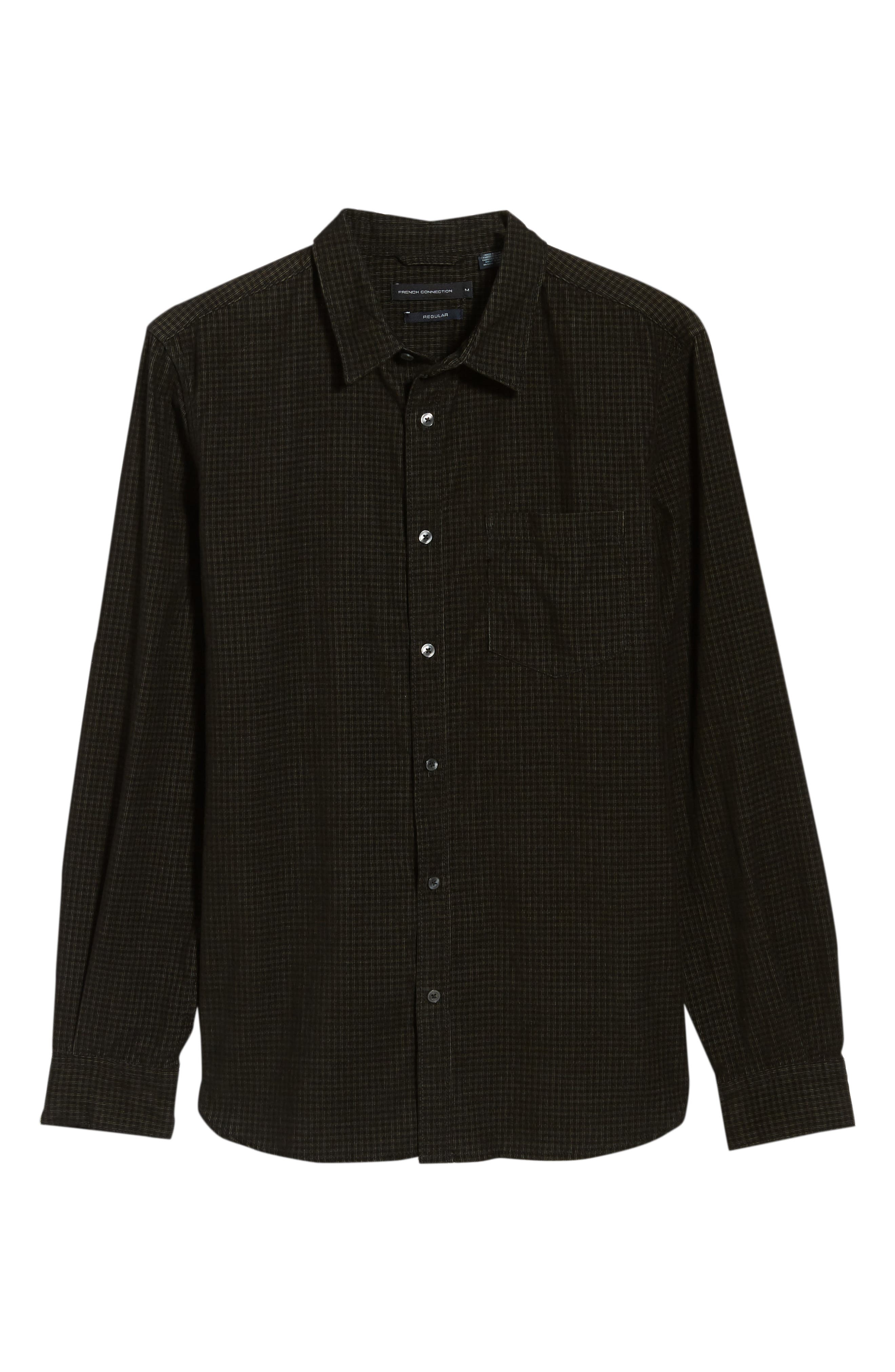 Regular Fit Mini Check Corduroy Shirt,                             Alternate thumbnail 5, color,                             BLACK IRIS