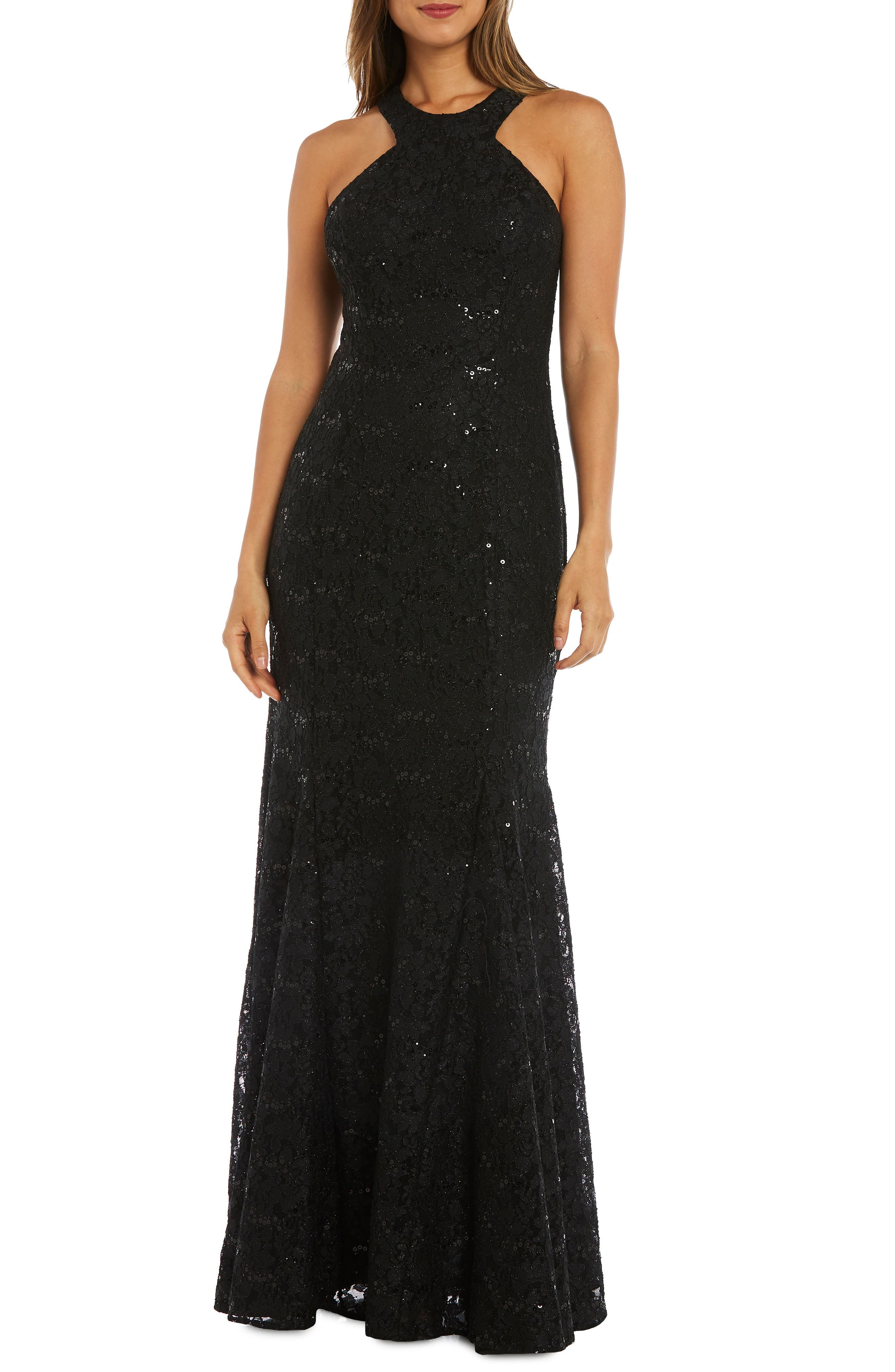 MORGAN & CO. Strappy Back Sequin Lace Gown, Main, color, BLACK
