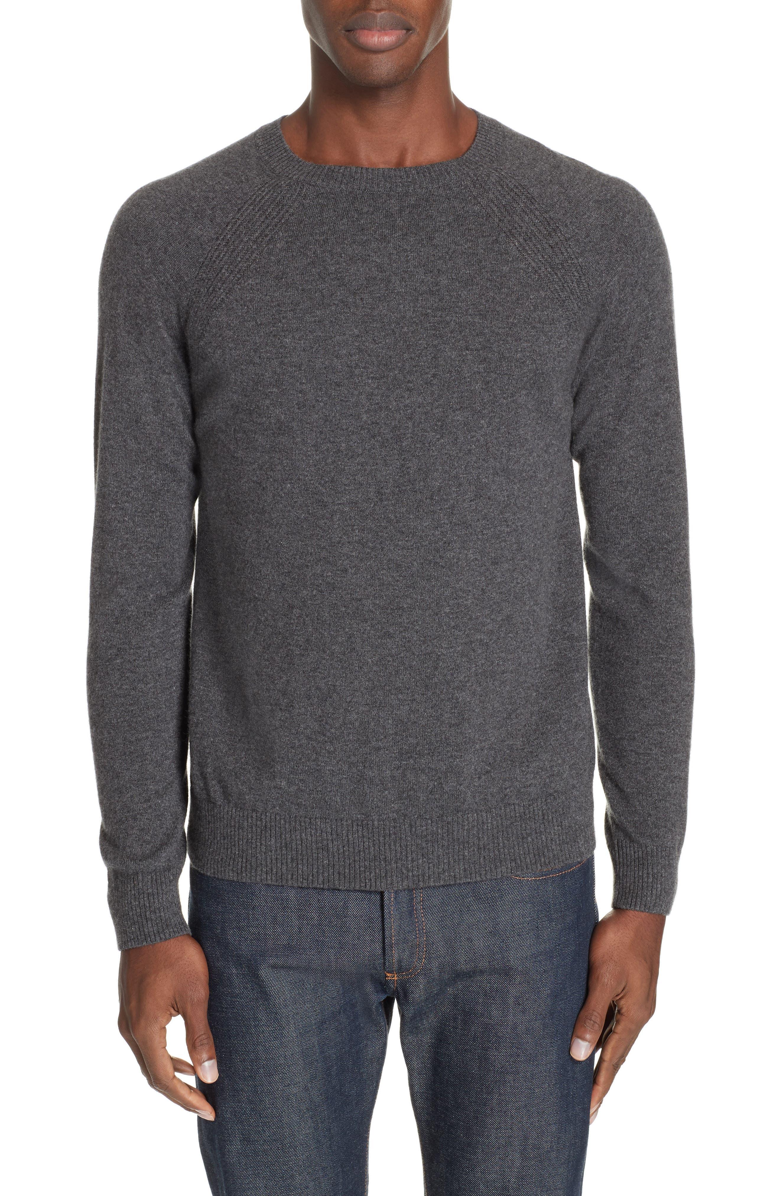 Cashmere Crewneck Sweater,                             Main thumbnail 1, color,                             ANTHRACITE