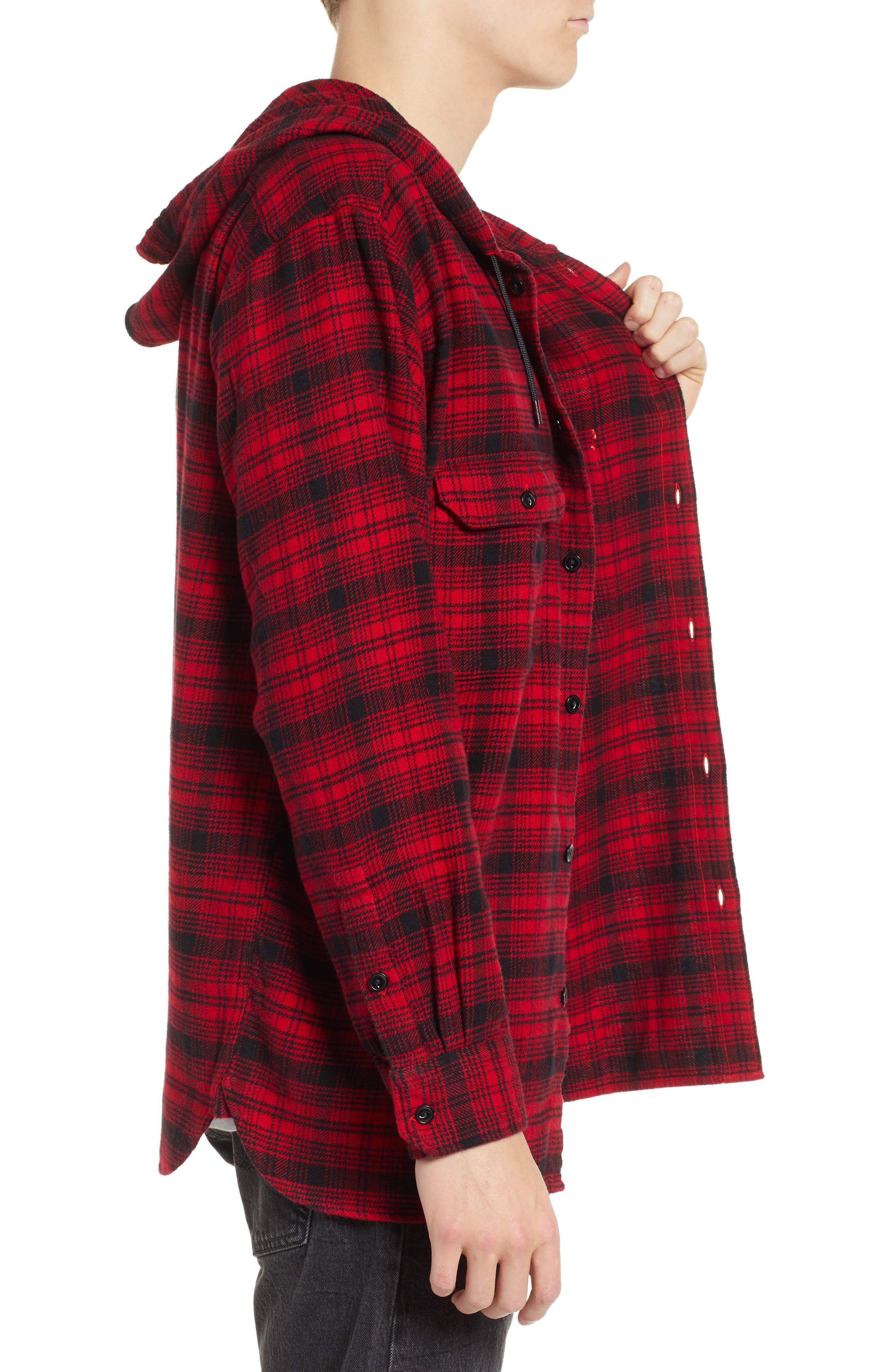 x Justin Timberlake Hooded Flannel Worker Shirt,                             Alternate thumbnail 4, color,                             SERVAL CRIMSON