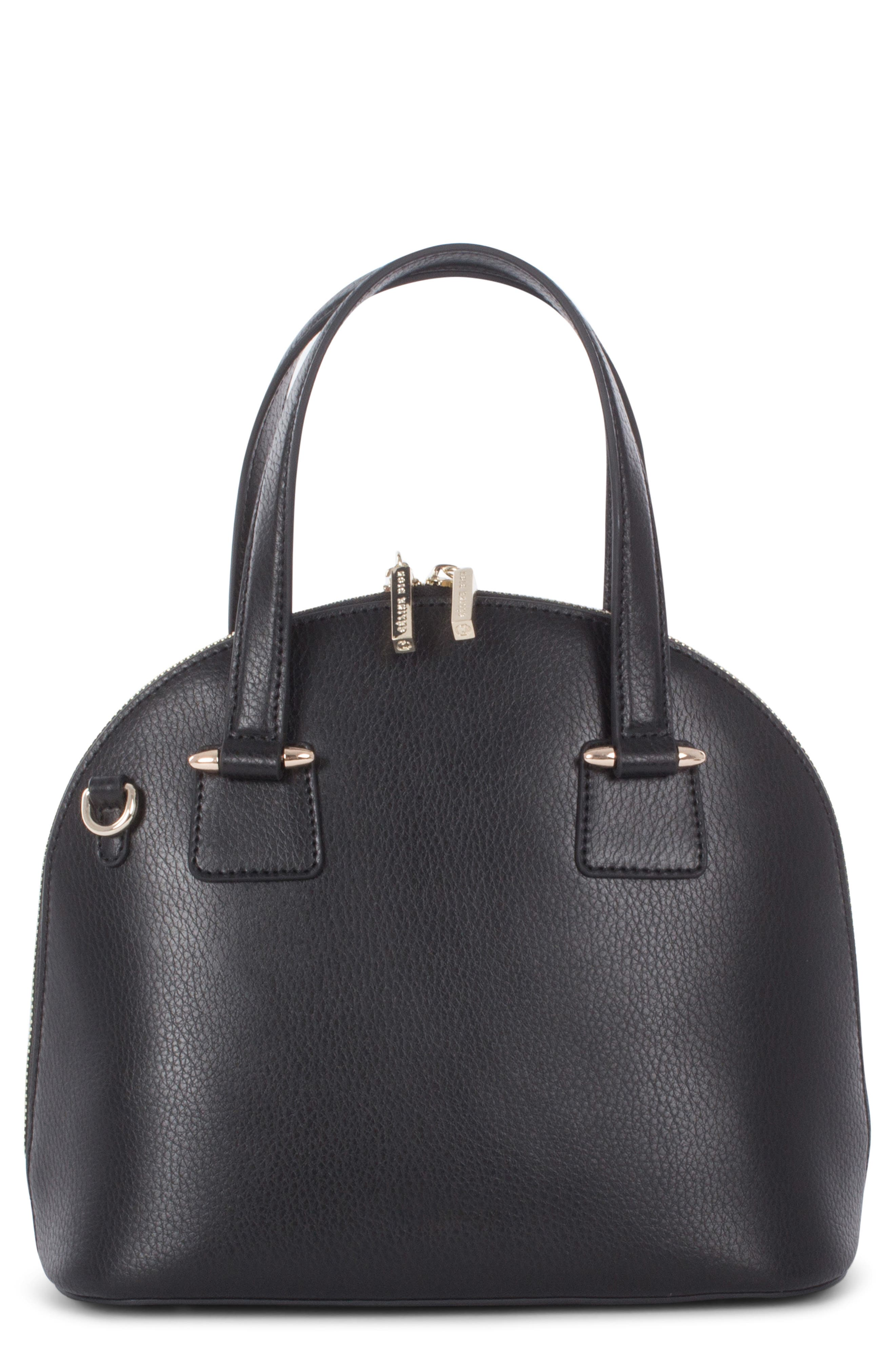 Céline Dion Triad Leather Satchel,                         Main,                         color, BLACK
