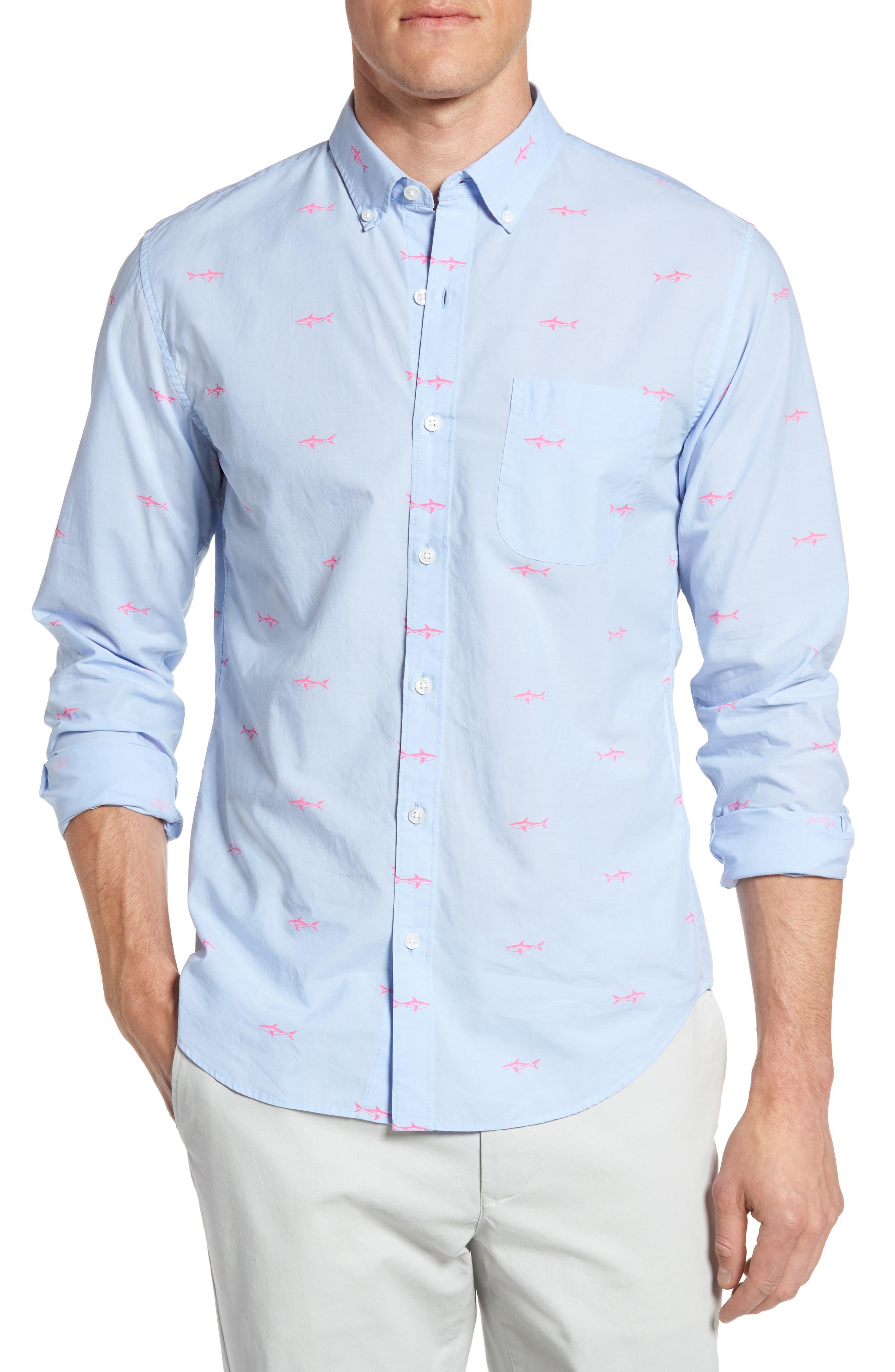 Slim Fit Summerweight Shark Print Sport Shirt,                         Main,                         color, 400