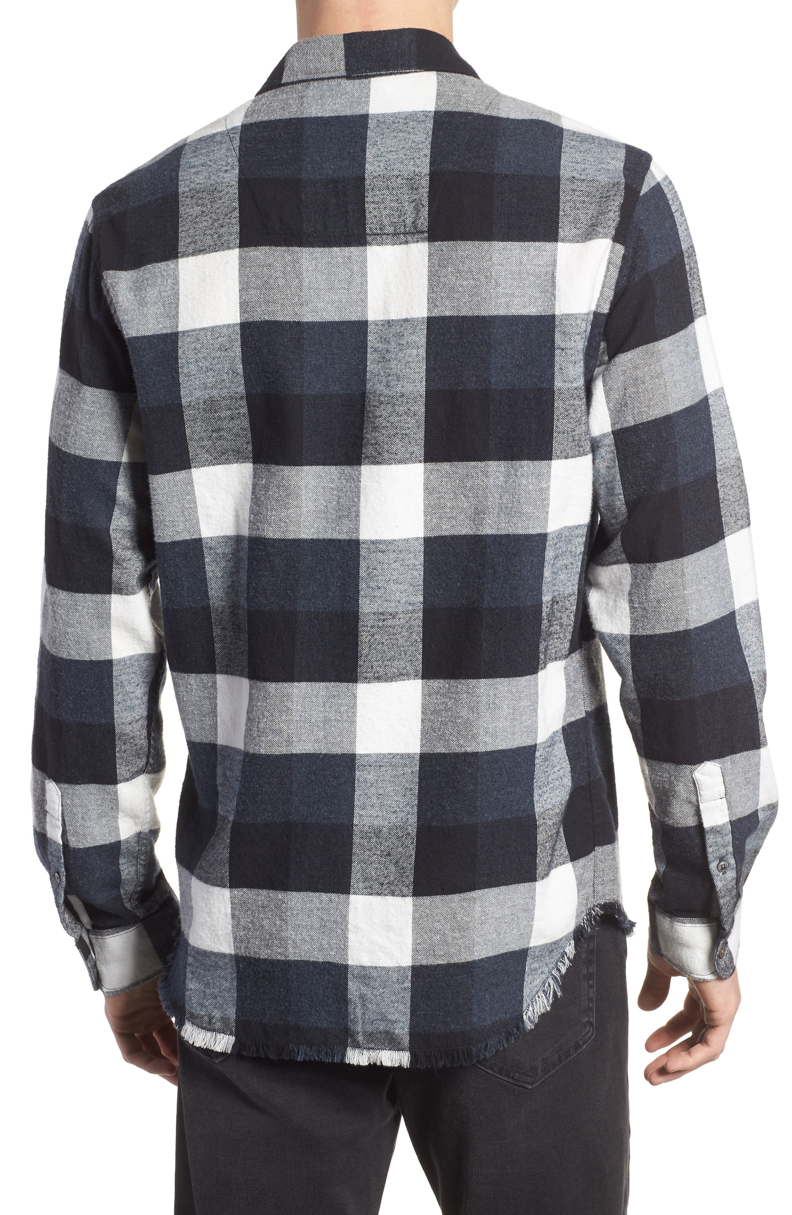 Classic Fit Flannel Sport Shirt,                             Alternate thumbnail 2, color,                             001