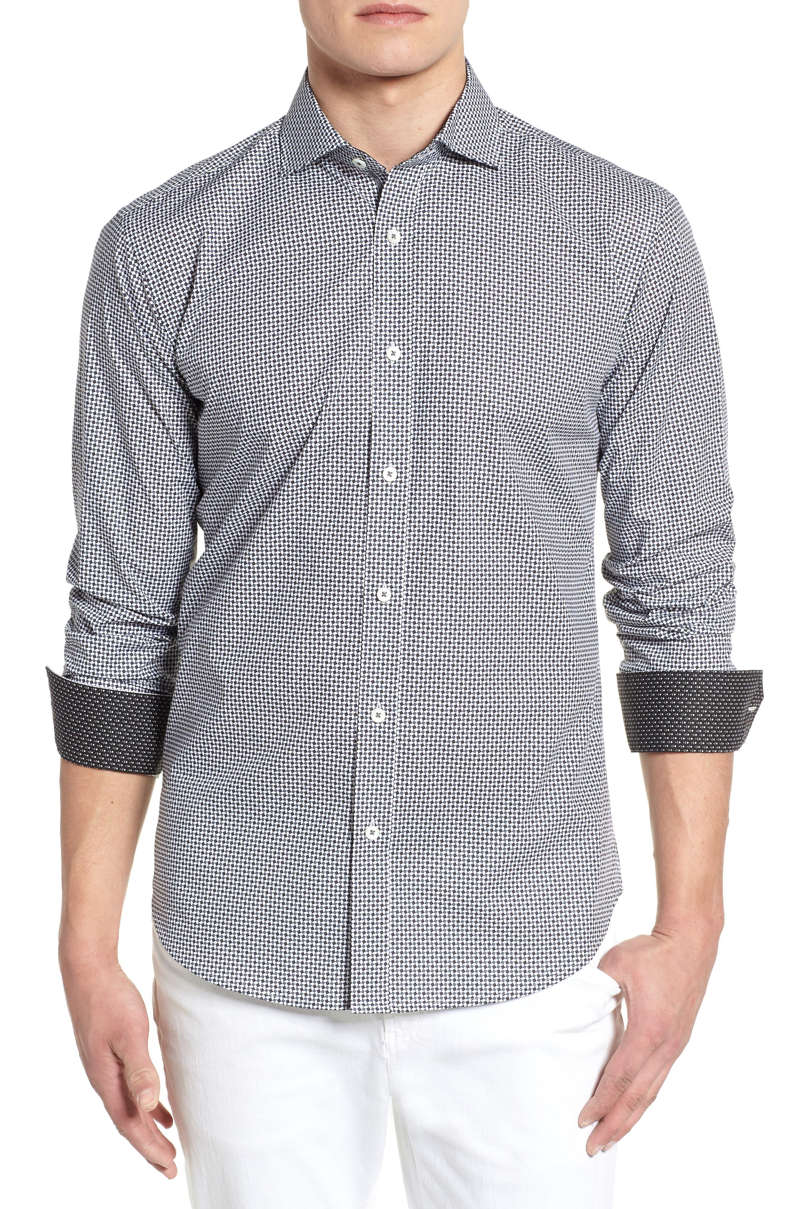 Shaped Fit Diamond Print Sport Shirt,                             Main thumbnail 1, color,                             020