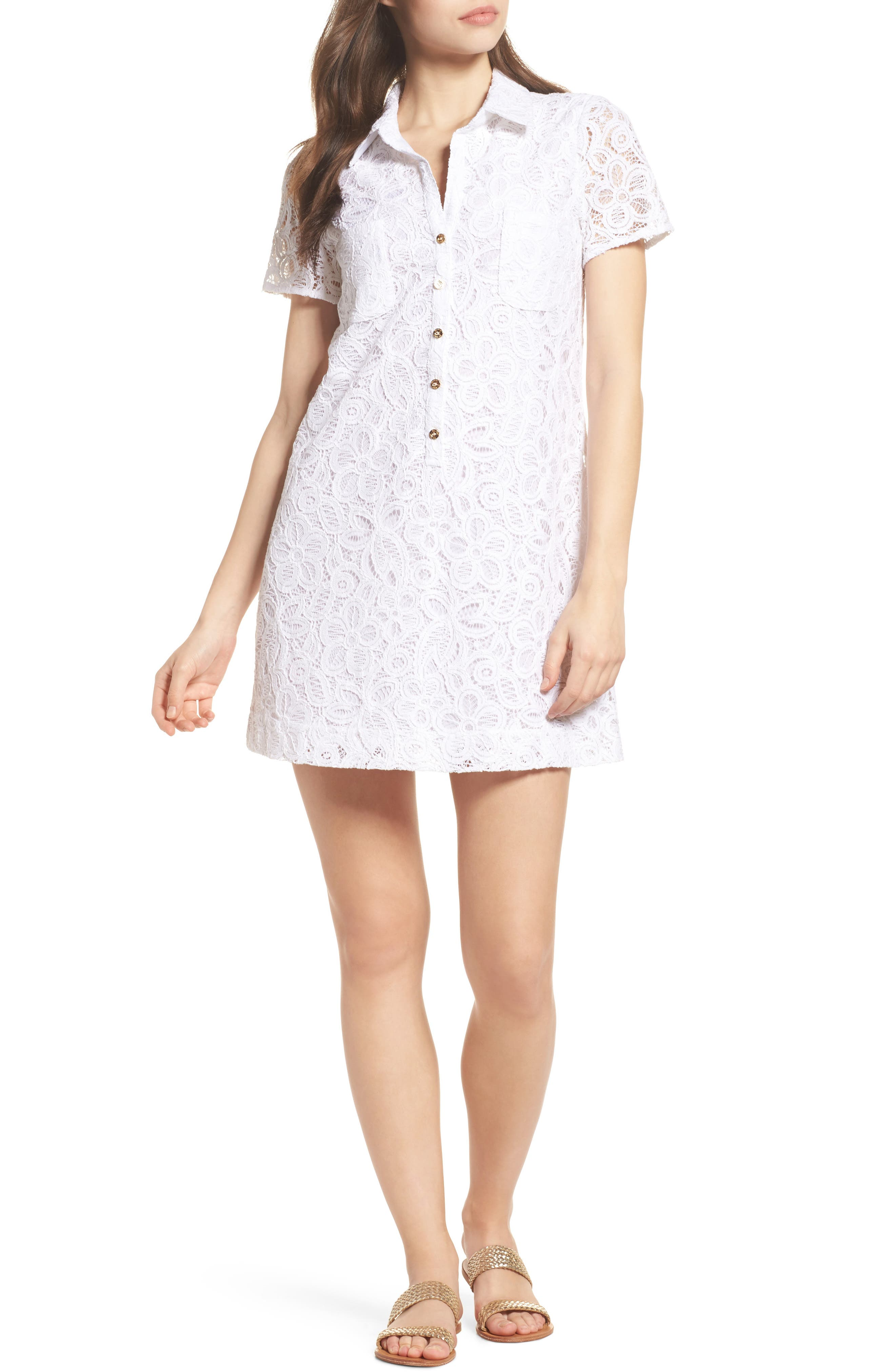Nelle Lace Shirtdress,                         Main,                         color,