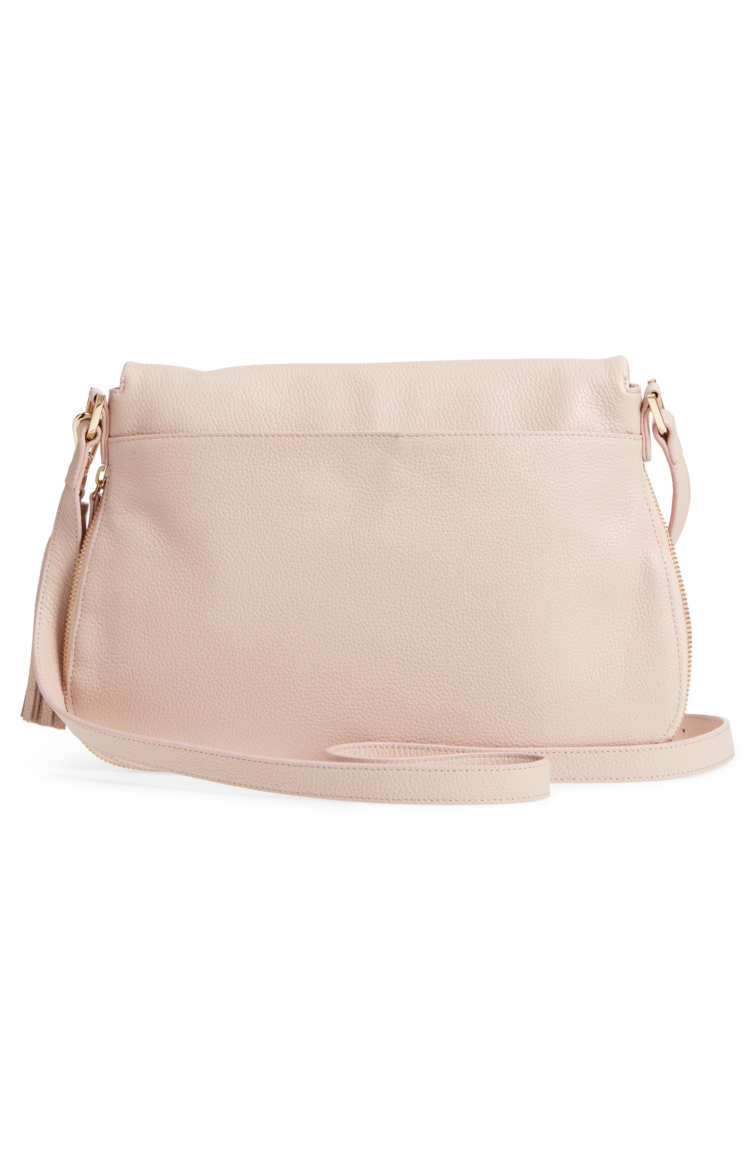 Kara Leather Expandable Crossbody Bag,                             Alternate thumbnail 3, color,                             PINK ROSECLOUD
