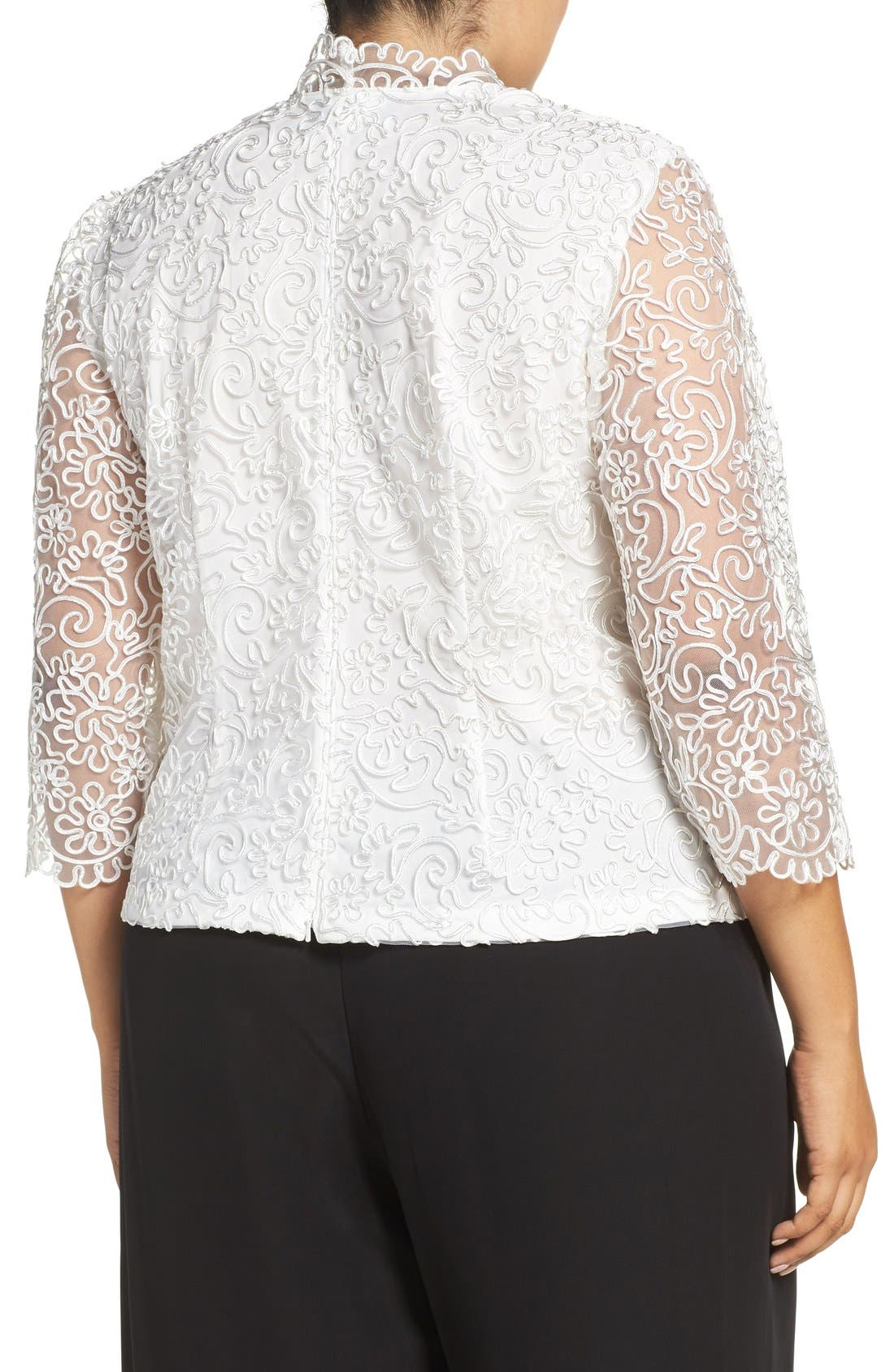 Embroidered Illusion Sleeve Blouse,                             Alternate thumbnail 8, color,