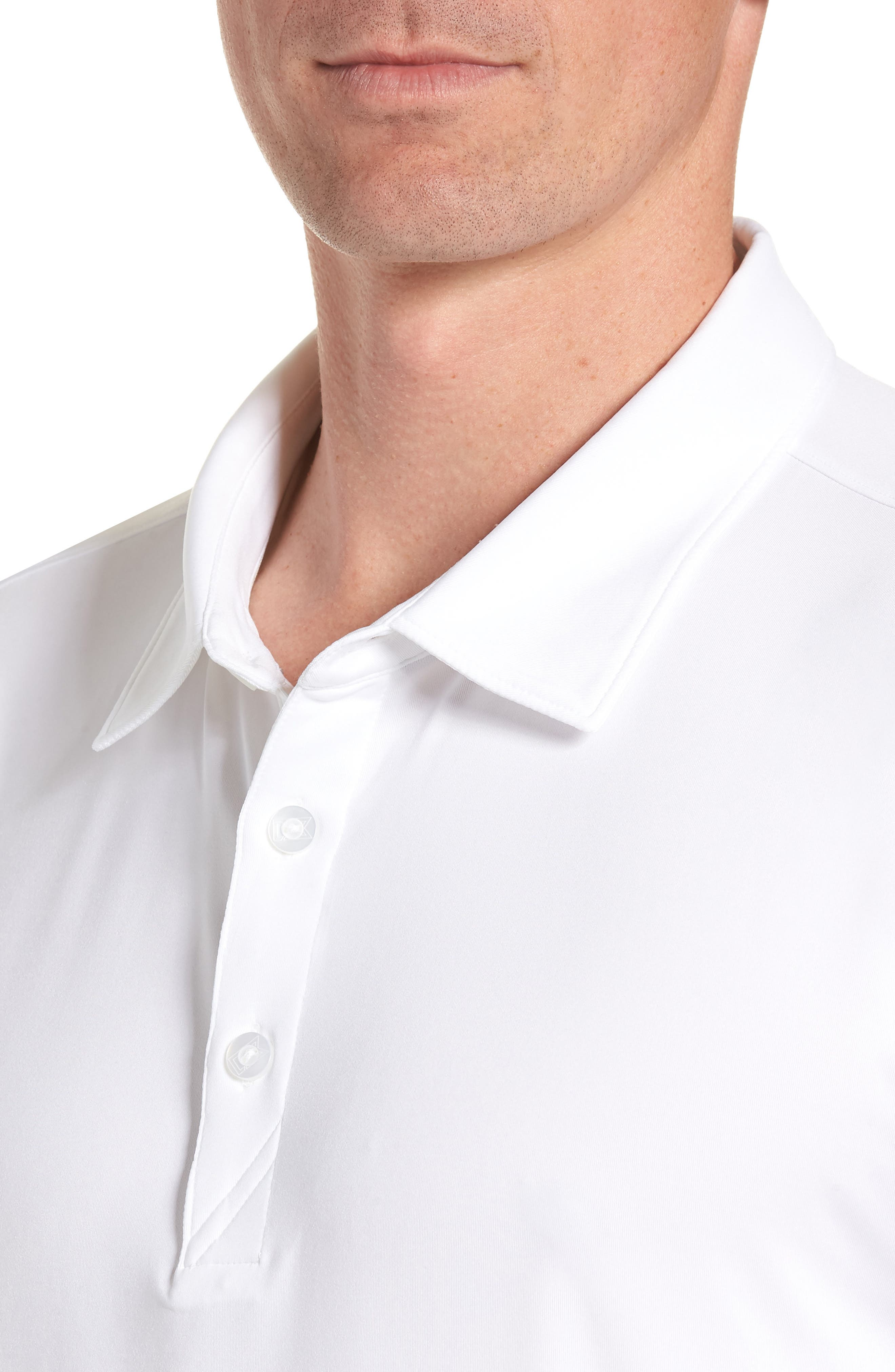 CUTTER & BUCK,                             Belmont Long Sleeve Solid Polo,                             Alternate thumbnail 4, color,                             100