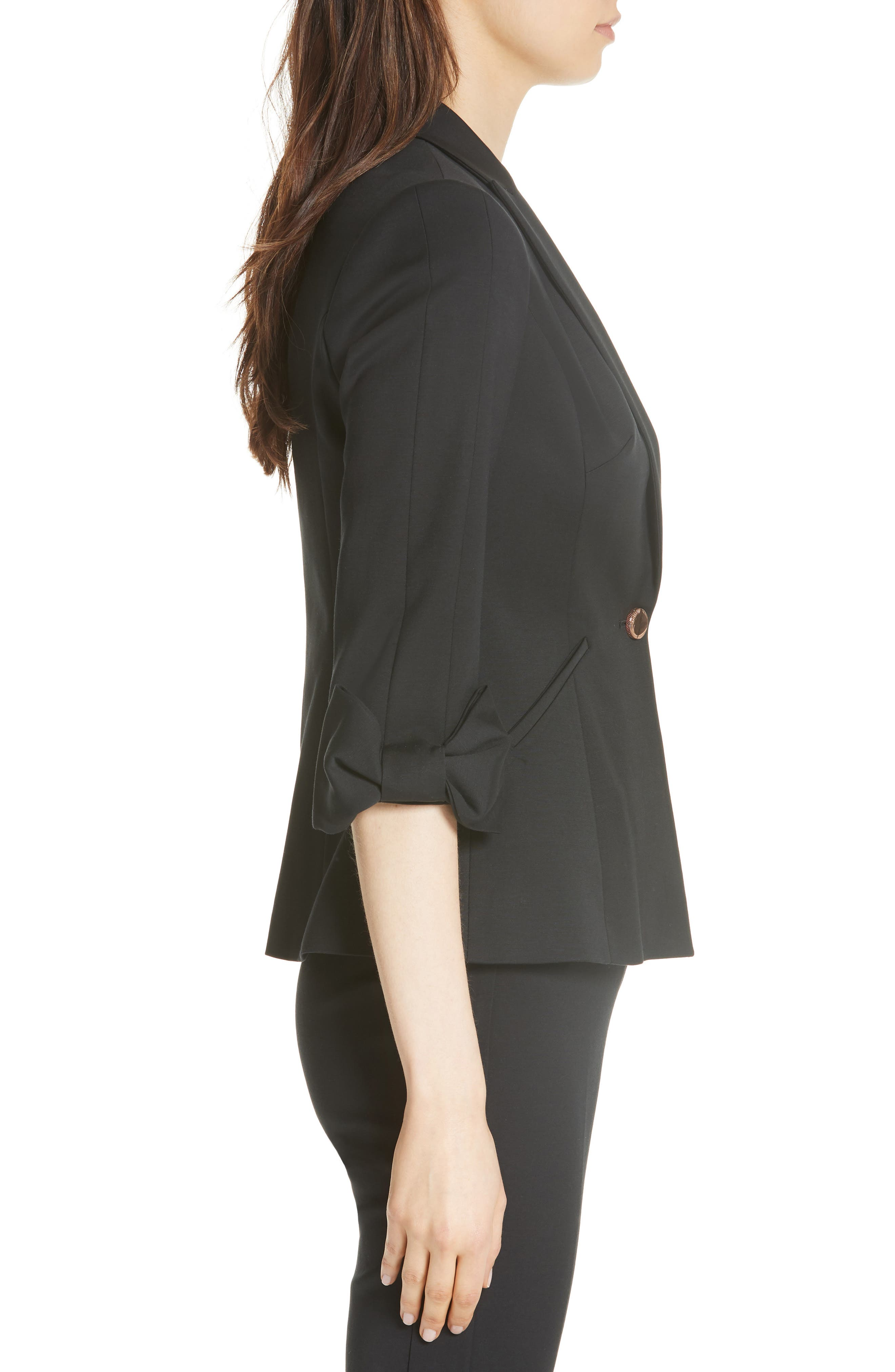 Toply Bow Cuff Jacket,                             Alternate thumbnail 3, color,                             BLACK
