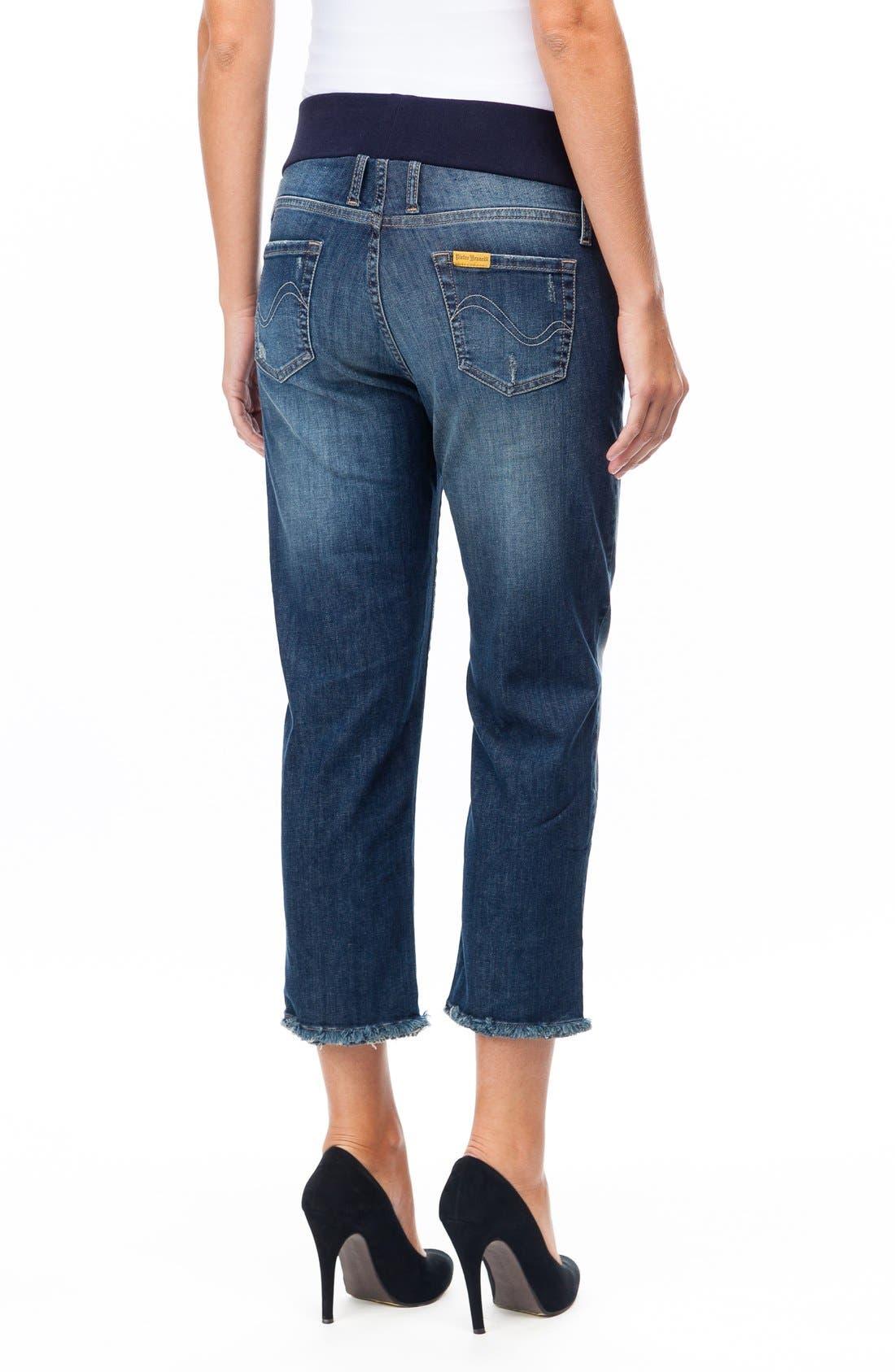 Distressed Crop Boyfriend Maternity Jeans,                             Alternate thumbnail 2, color,