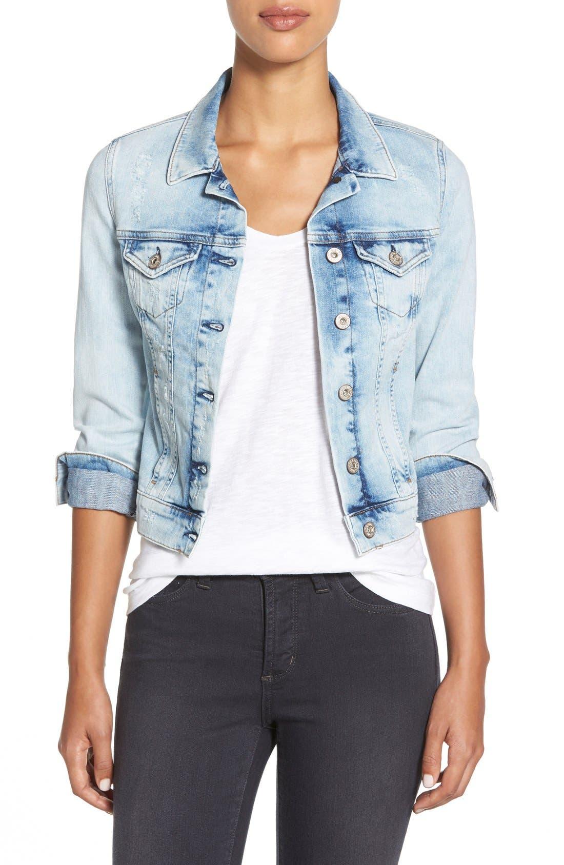 'Samantha' Denim Jacket,                         Main,                         color, BLEACH VINTAGE