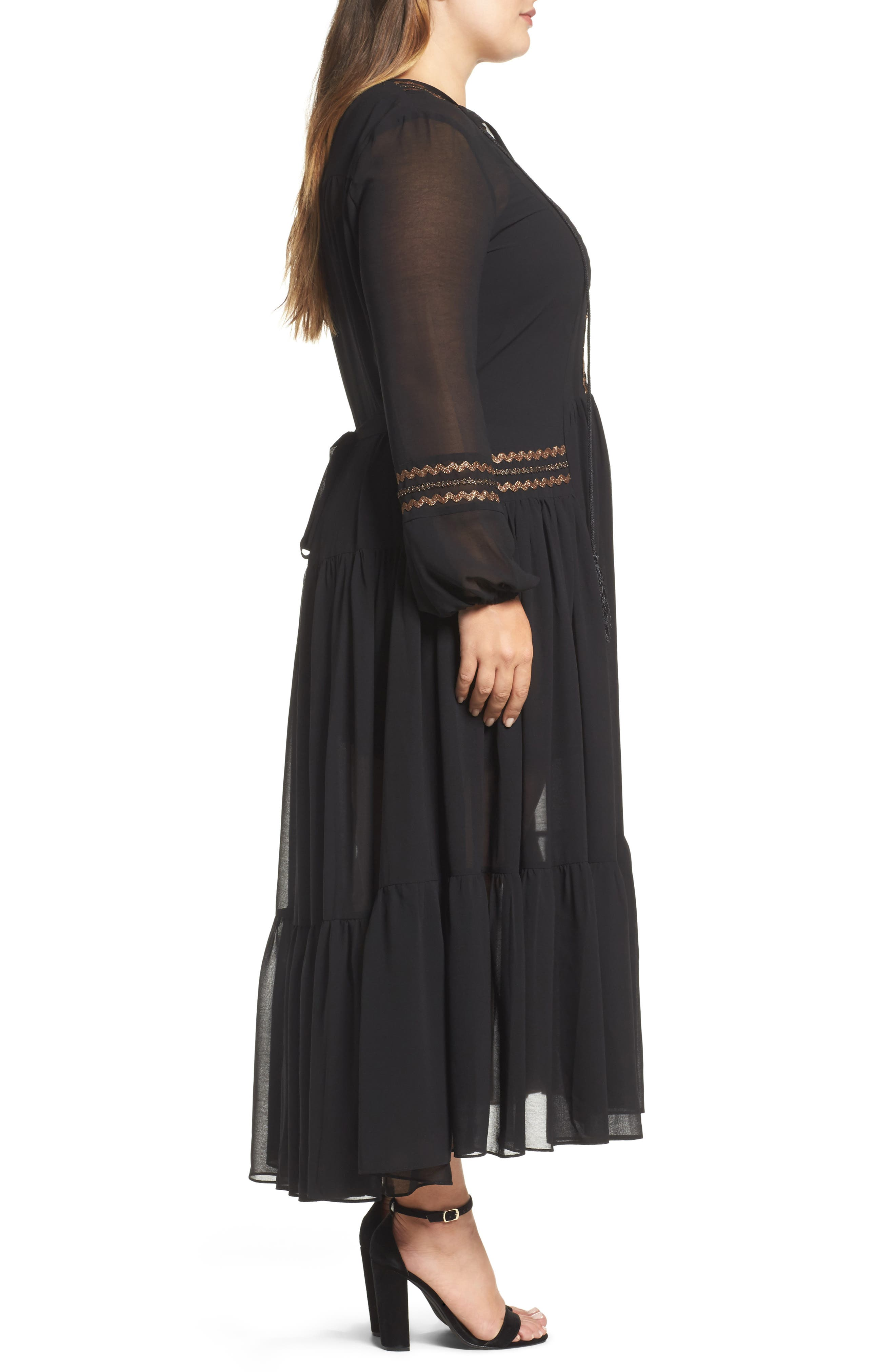 Maxi Dress,                             Alternate thumbnail 3, color,                             001