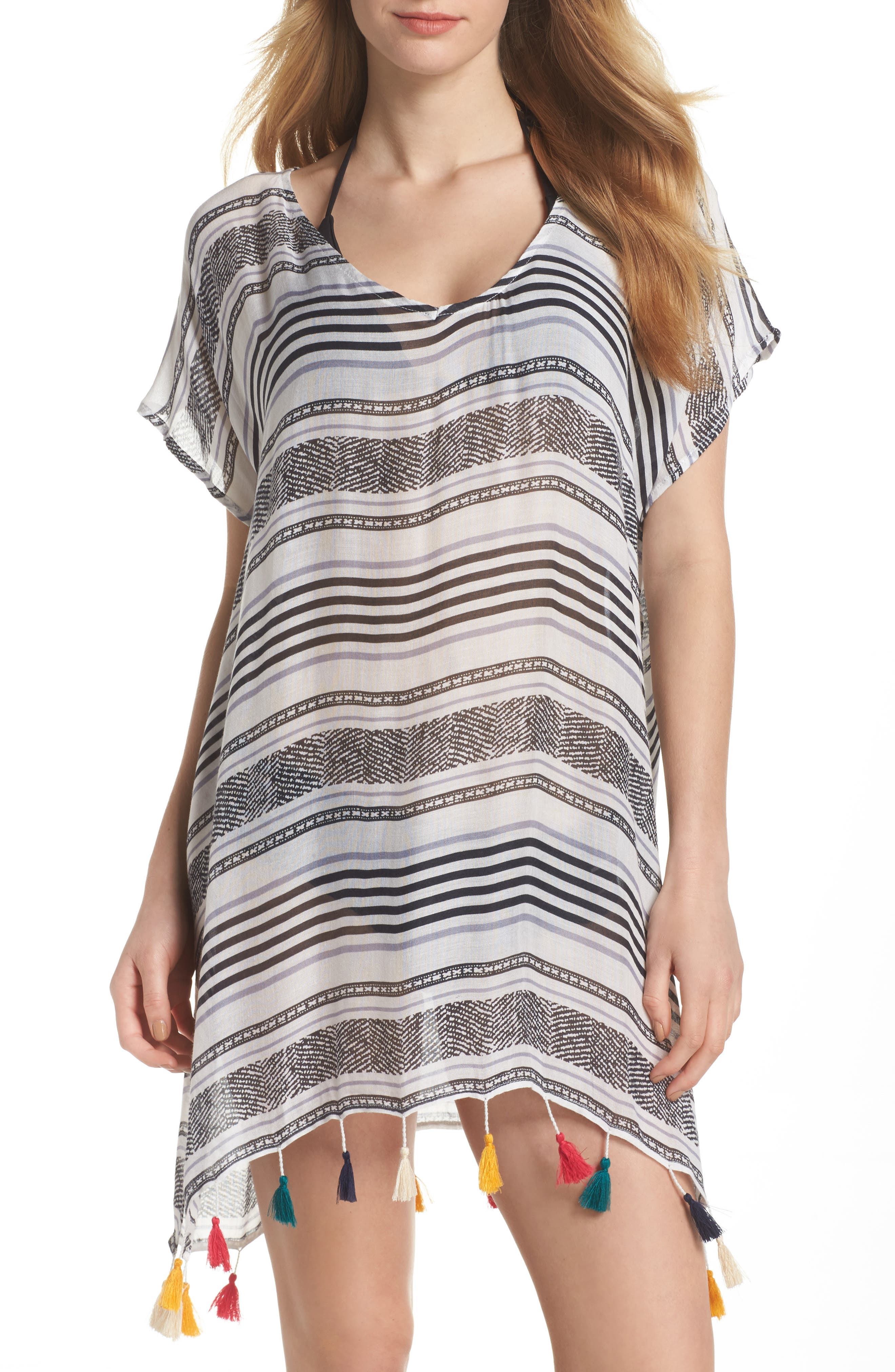 SURF GYPSY Stripe Tassel Cover-Up Tunic, Main, color, 020