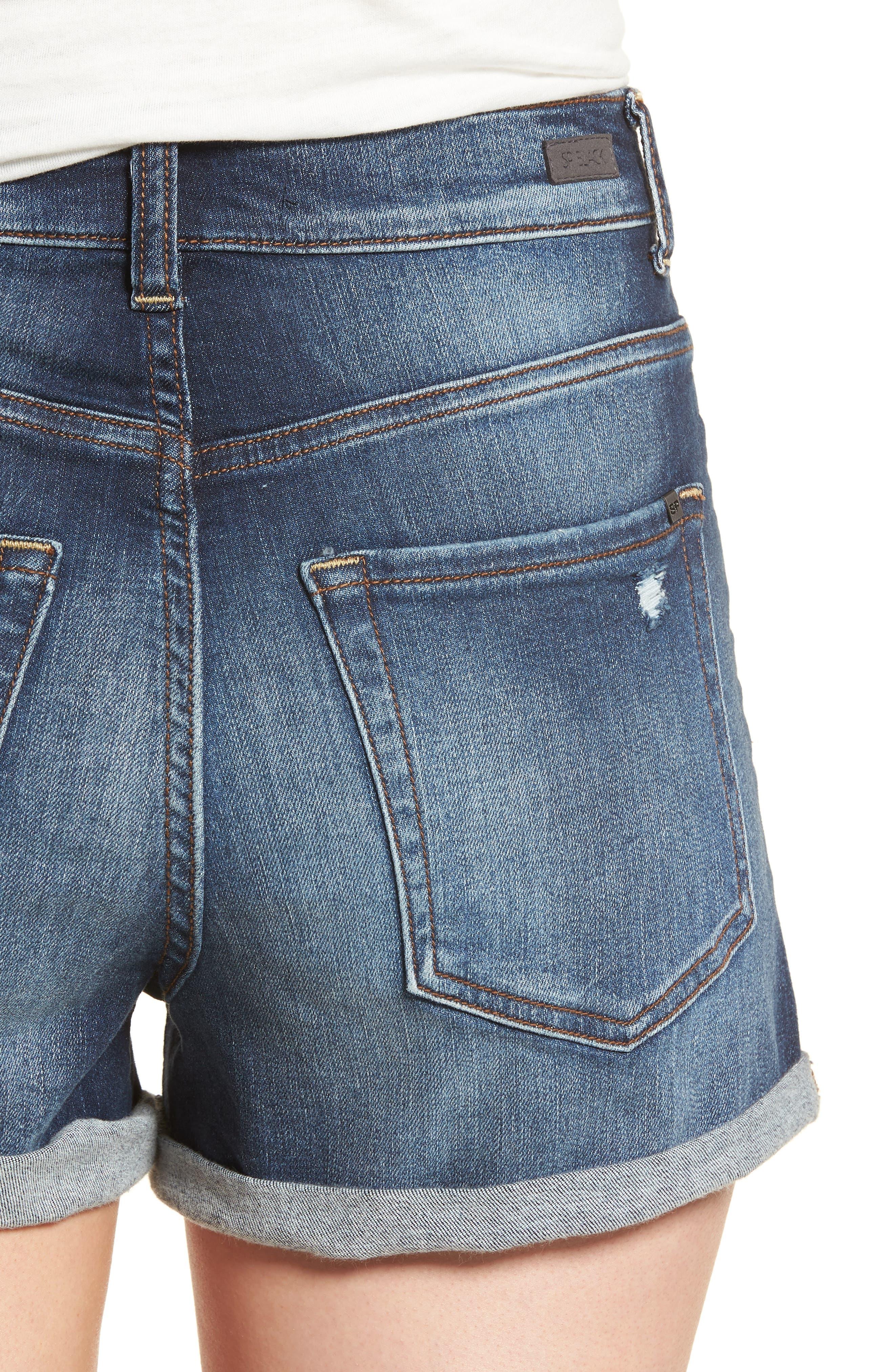 Cuffed High Waist Denim Shorts,                             Alternate thumbnail 4, color,                             401