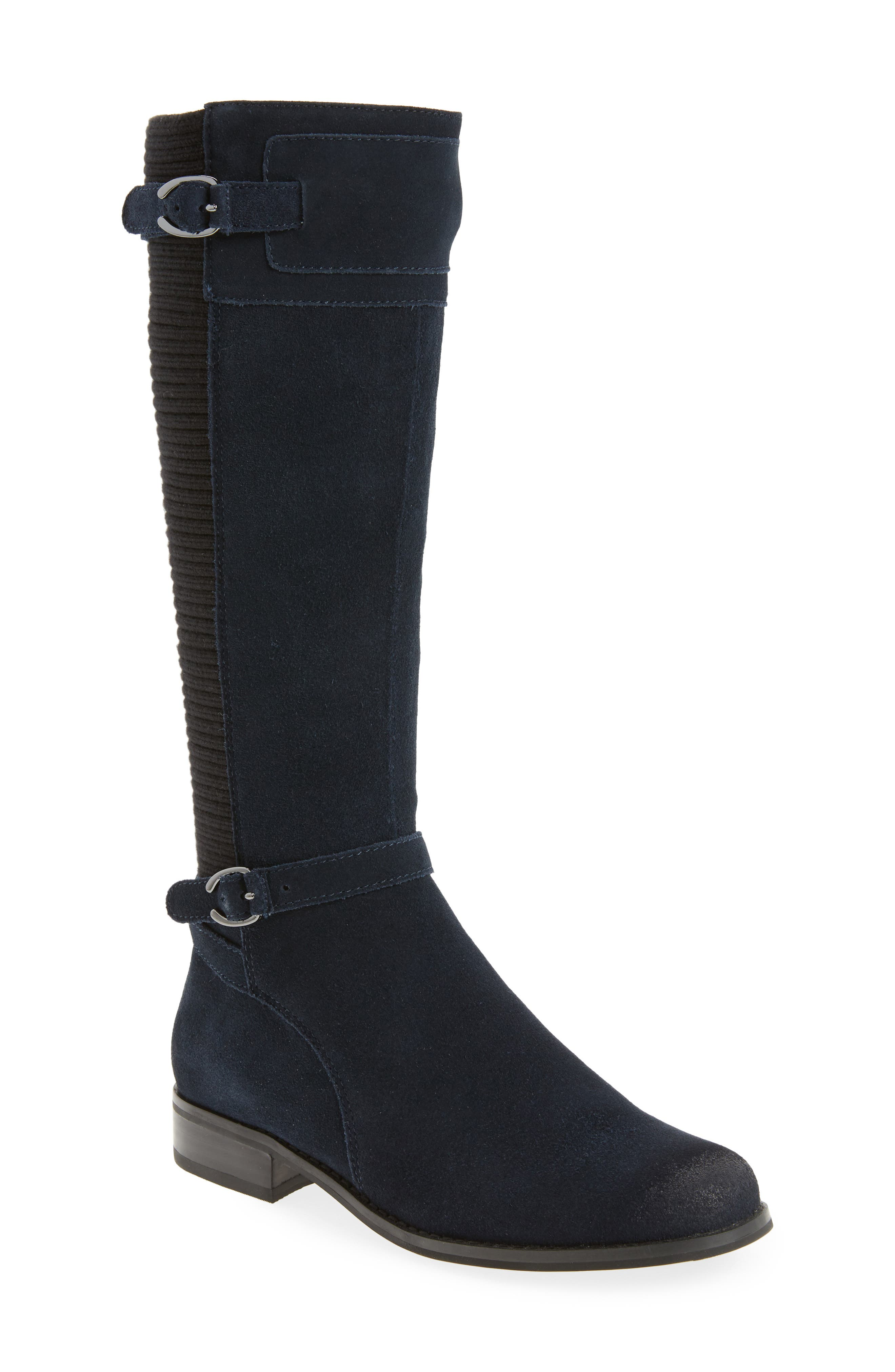 AETREX,                             Chelsea Riding Waterproof Boot,                             Main thumbnail 1, color,                             NAVY SUEDE