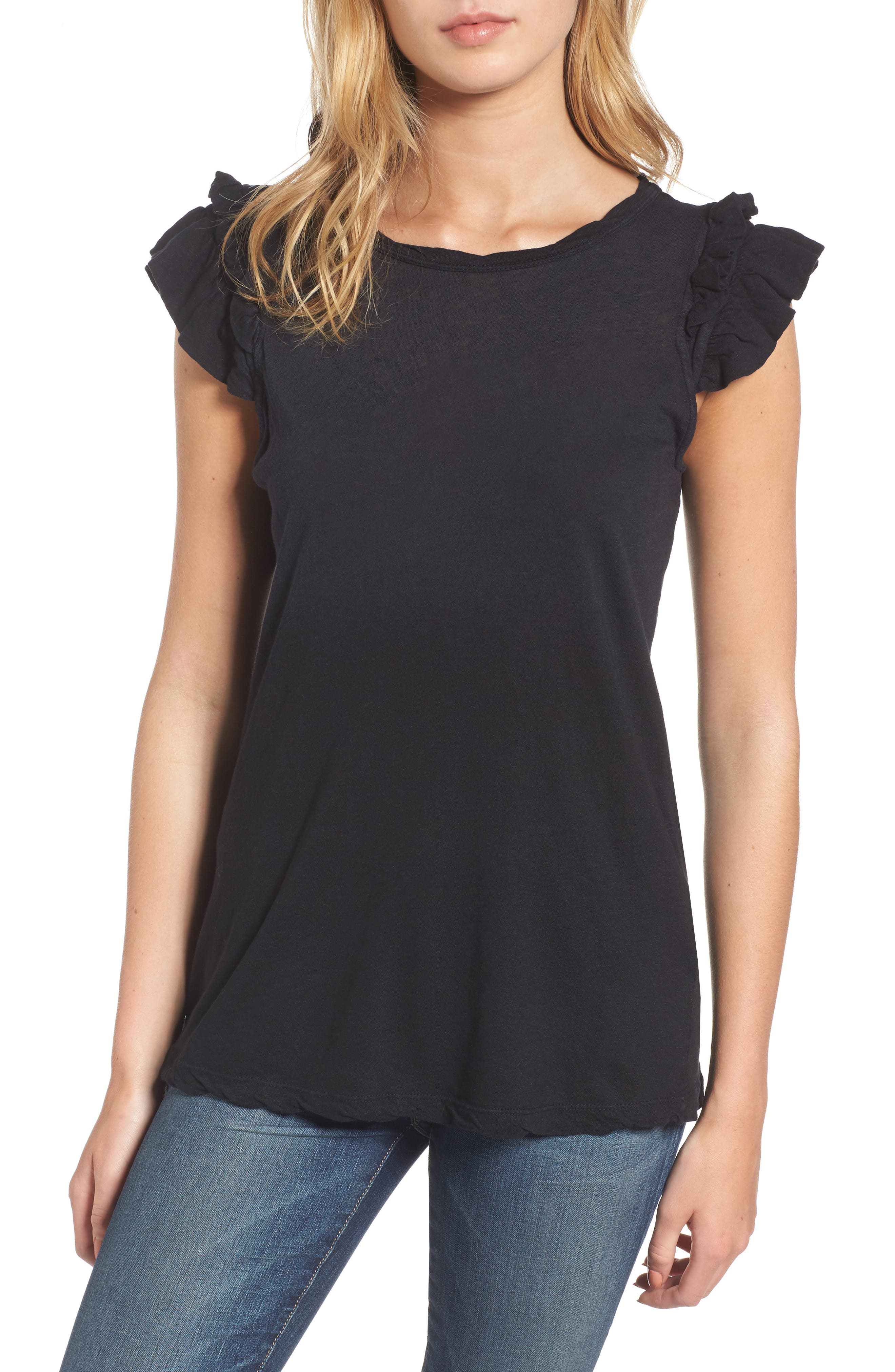 The Double Ruffle Muscle Tee,                         Main,                         color, 005