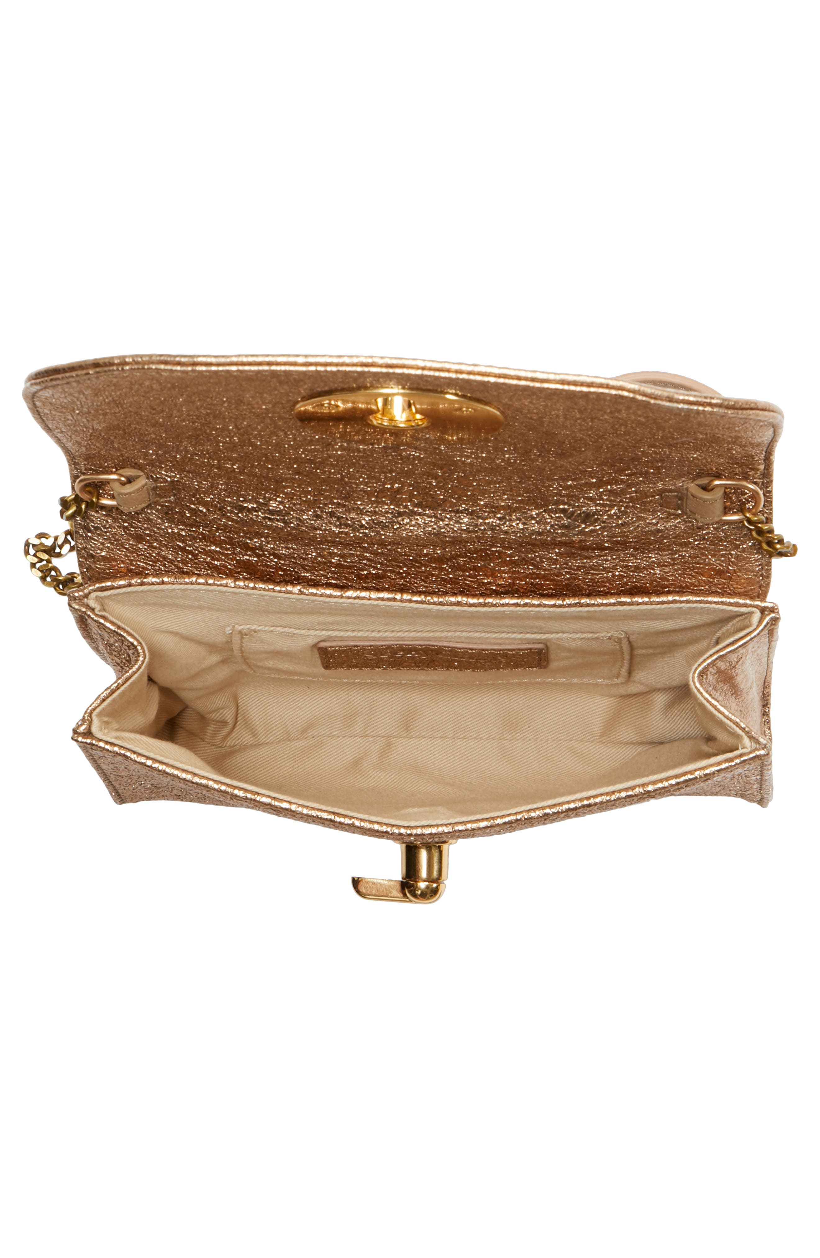 Mini Lois Metallic Calfskin Leather Crossbody Bag,                             Alternate thumbnail 4, color,                             SANDY BROWN
