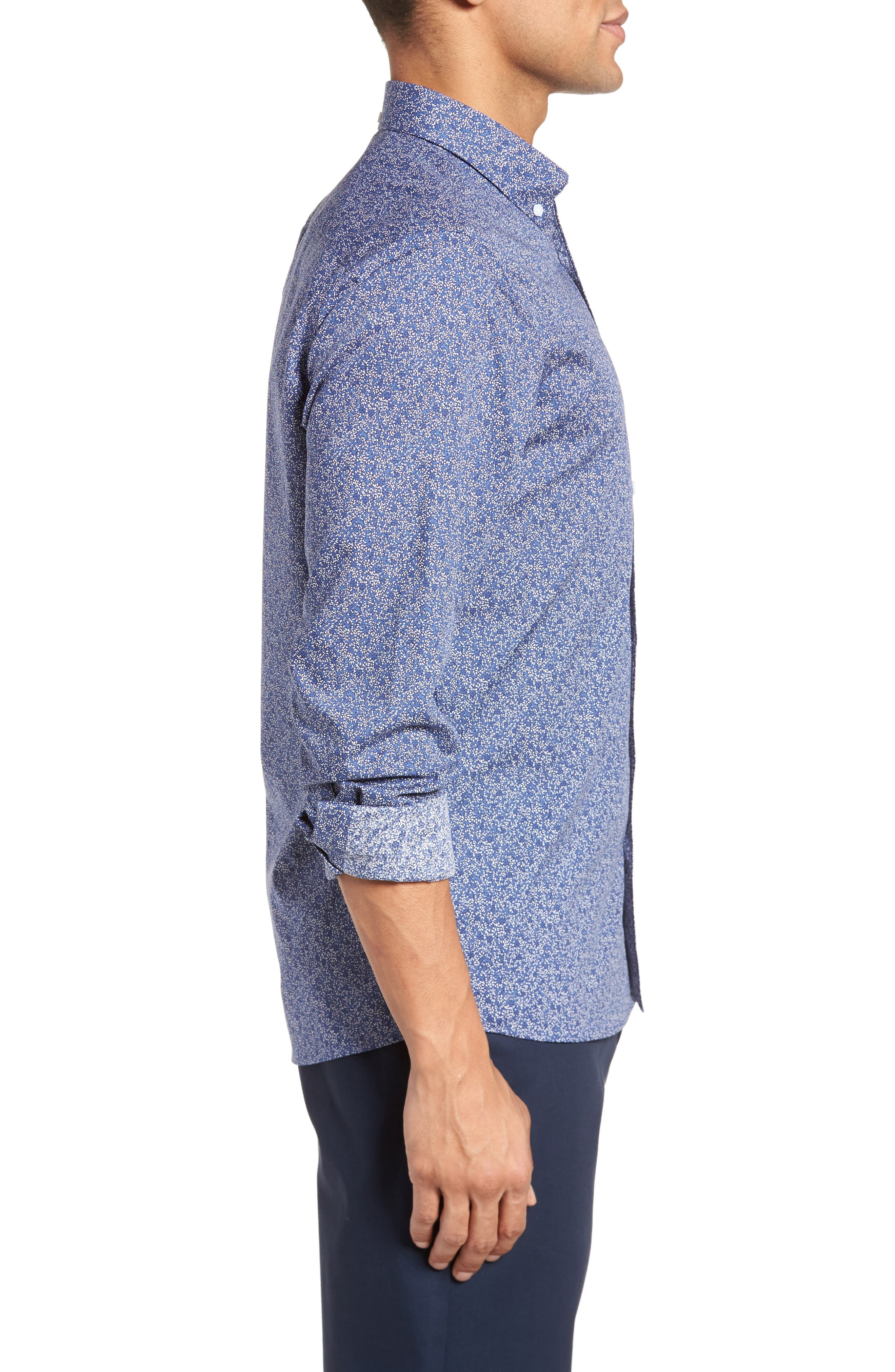 Slim Fit Floral Sport Shirt,                             Alternate thumbnail 3, color,                             410