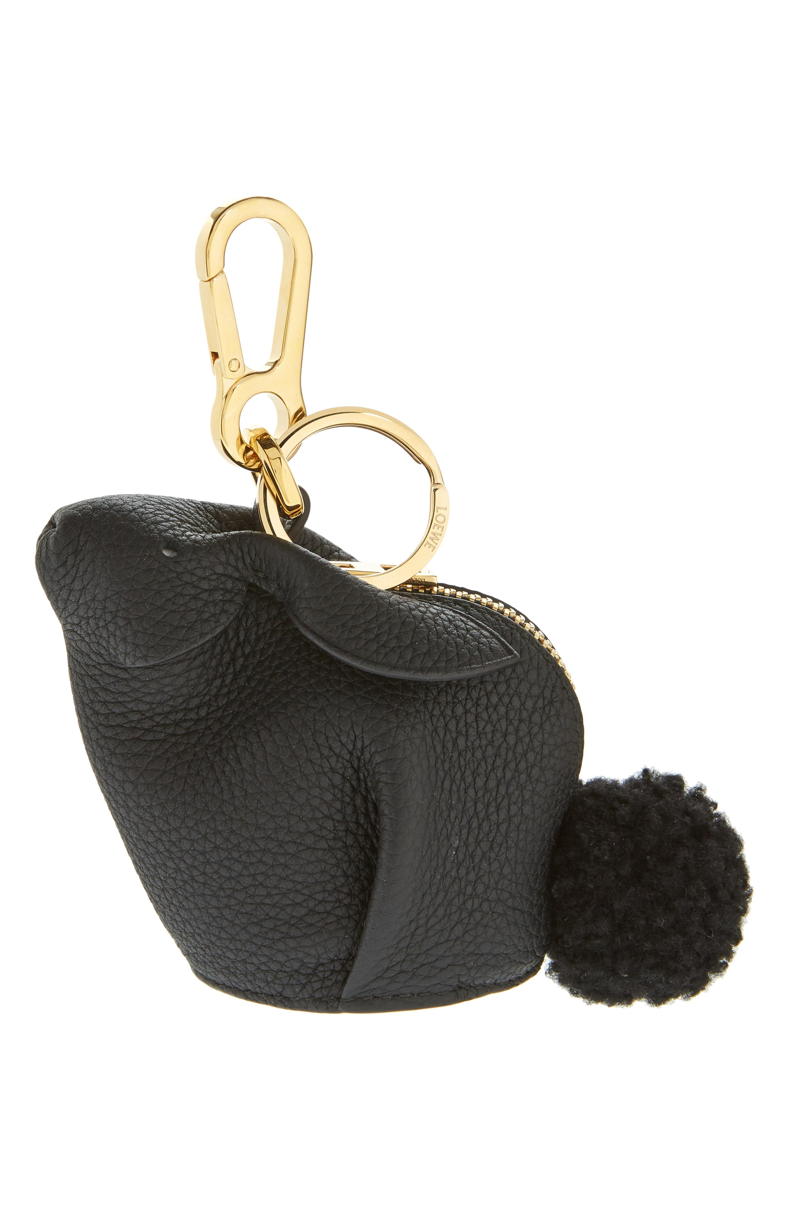Bunny Bag Charm with Genuine Shearling,                             Main thumbnail 1, color,                             001