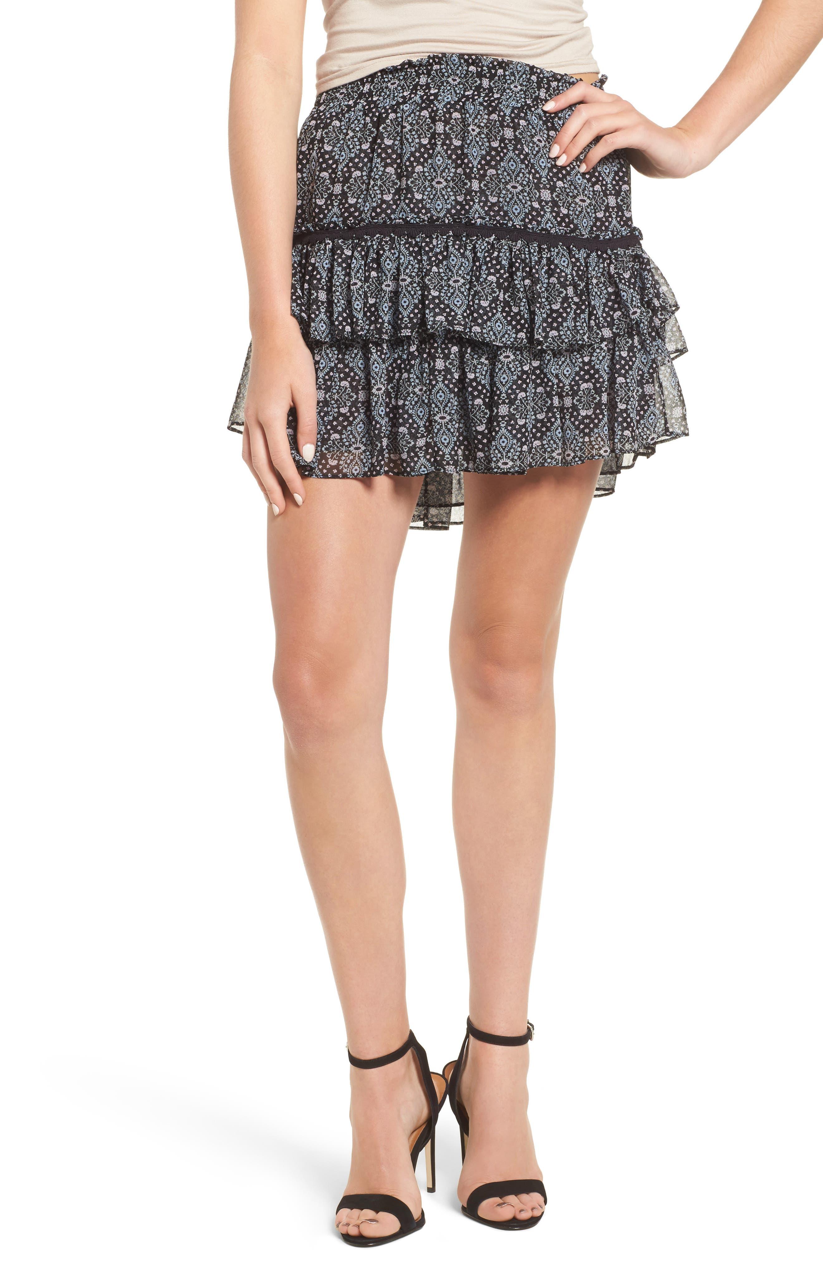 Taleh Ruffle Skirt,                             Main thumbnail 1, color,                             001