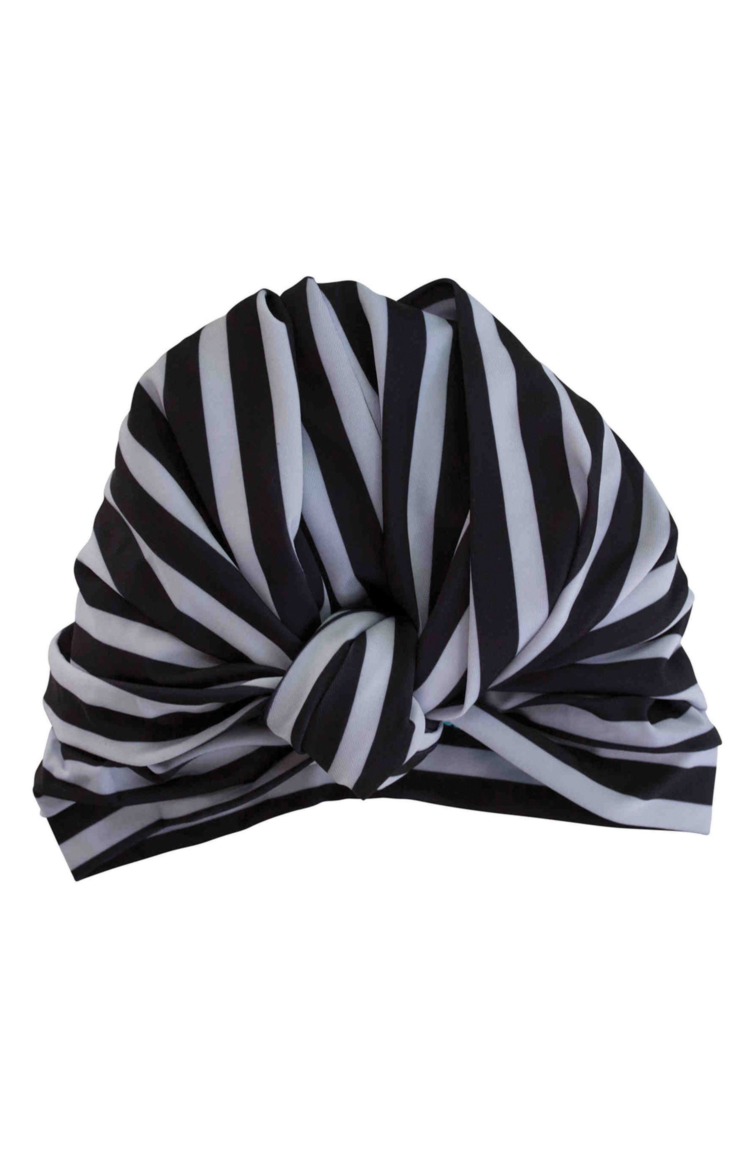 Dahlia Turban Shower Cap,                             Main thumbnail 1, color,                             MONOCHROME STRIPE