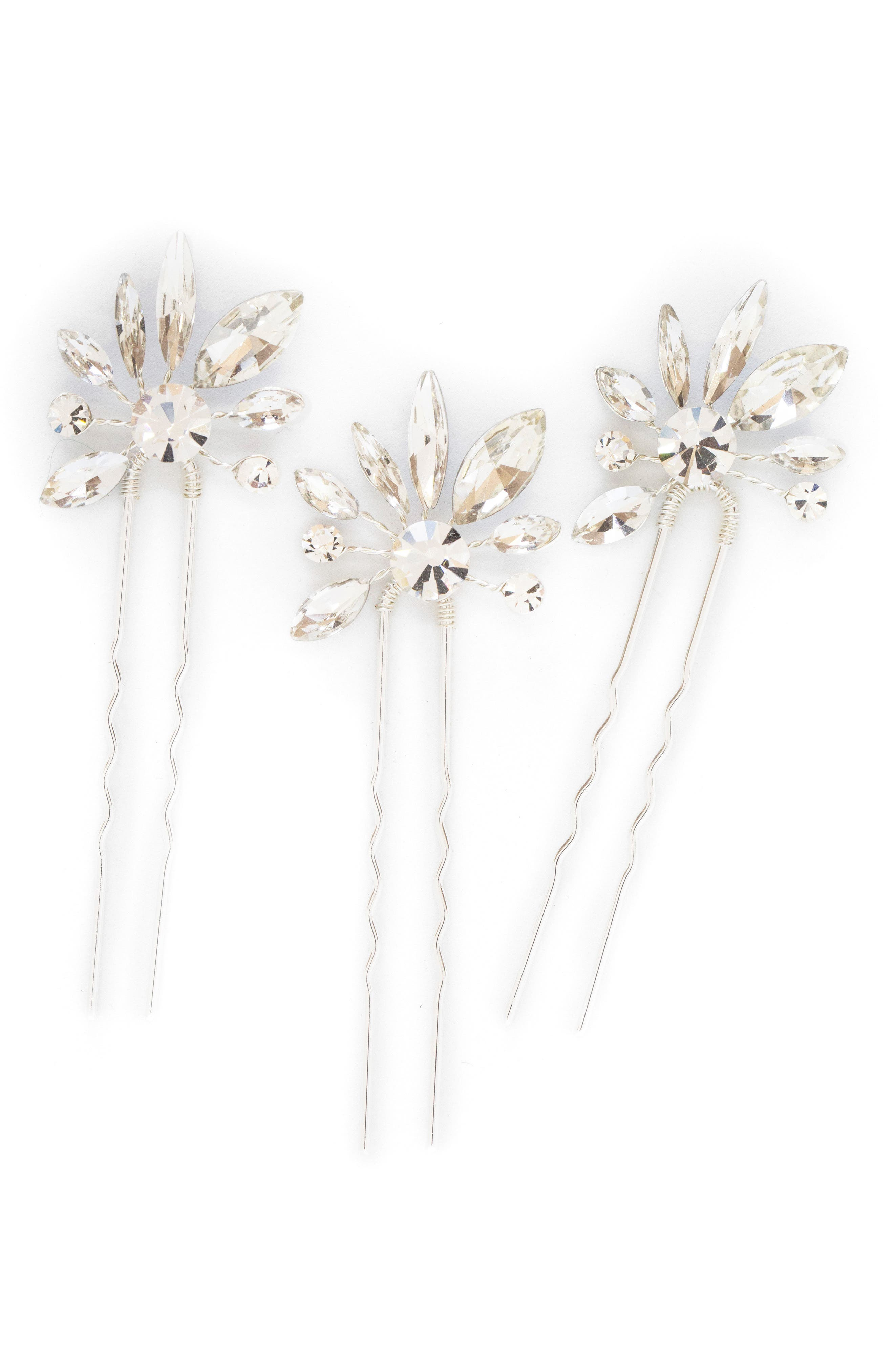 Noa Set of 3 Crystal Hairpins, Main, color, CLASSIC SILVER