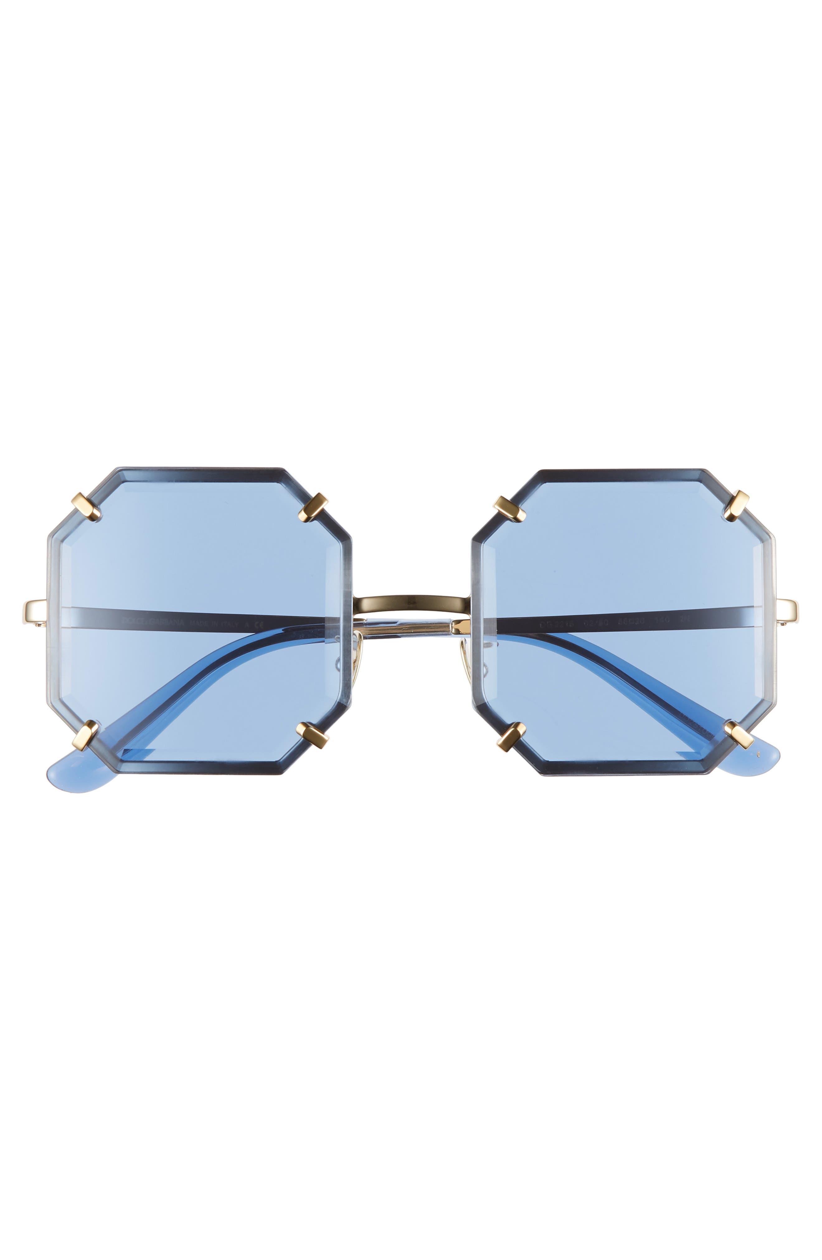 Jewel 55mm Octagonal Sunglasses,                             Alternate thumbnail 3, color,                             SILVER/ BLUE SOLID