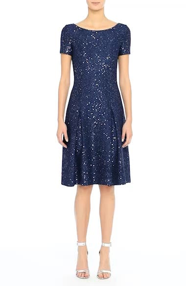 Sparkle Sequin Knit Fit & Flare Dress, video thumbnail