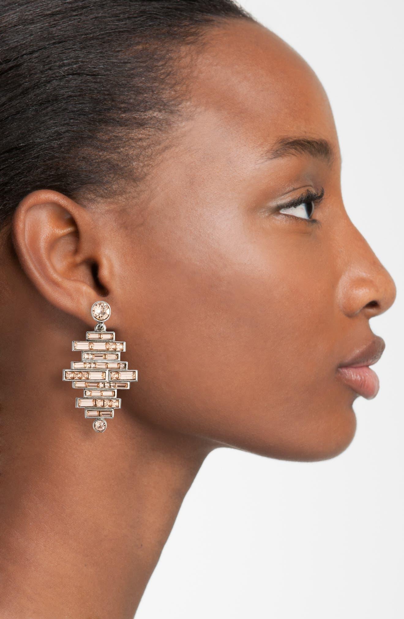 Stacked Baguette Drop Earrings,                             Alternate thumbnail 2, color,                             650