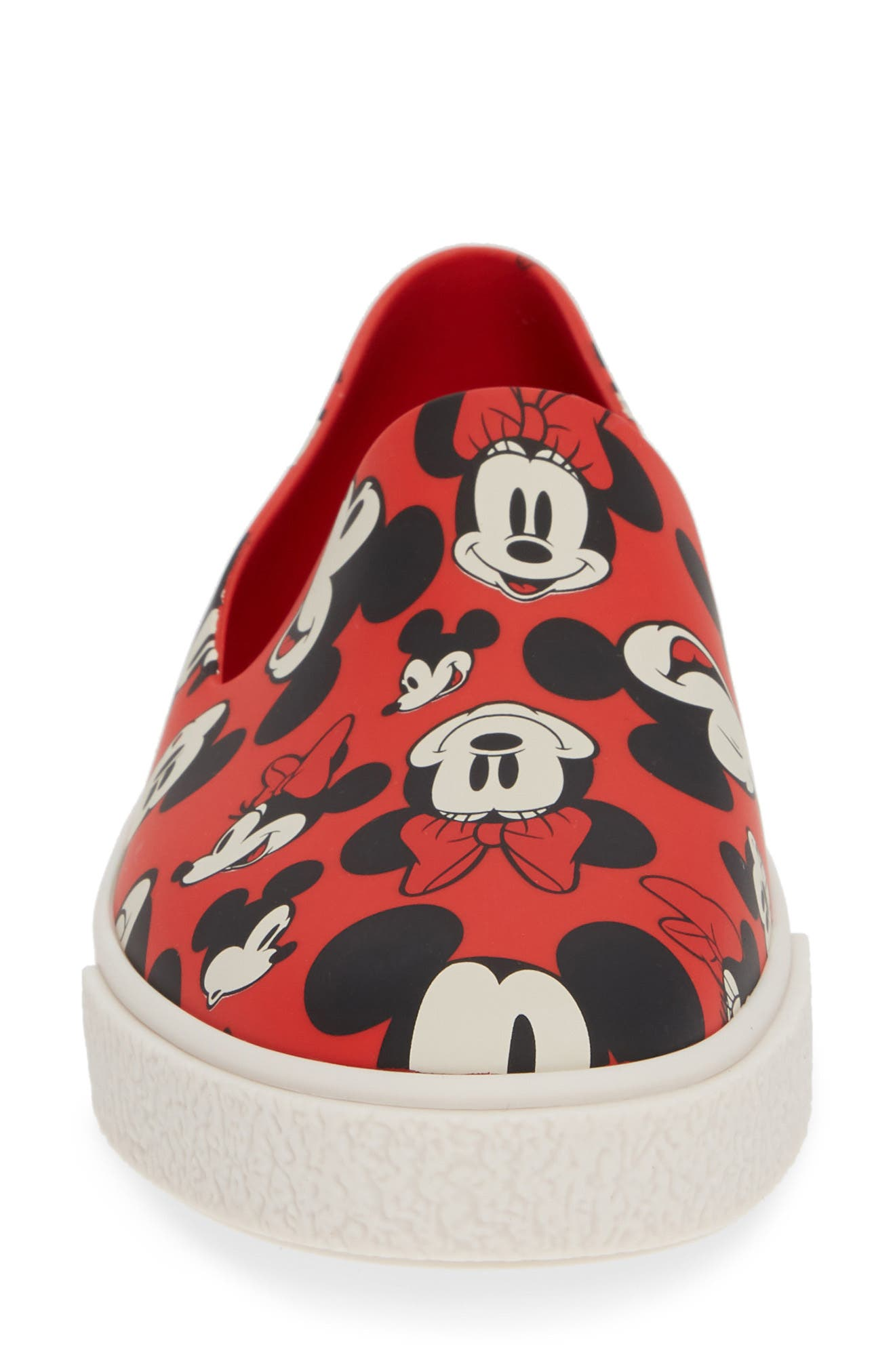 Ground Mickey Mouse Slip-On Sneaker,                             Alternate thumbnail 4, color,                             RED/ WHITE FABRIC