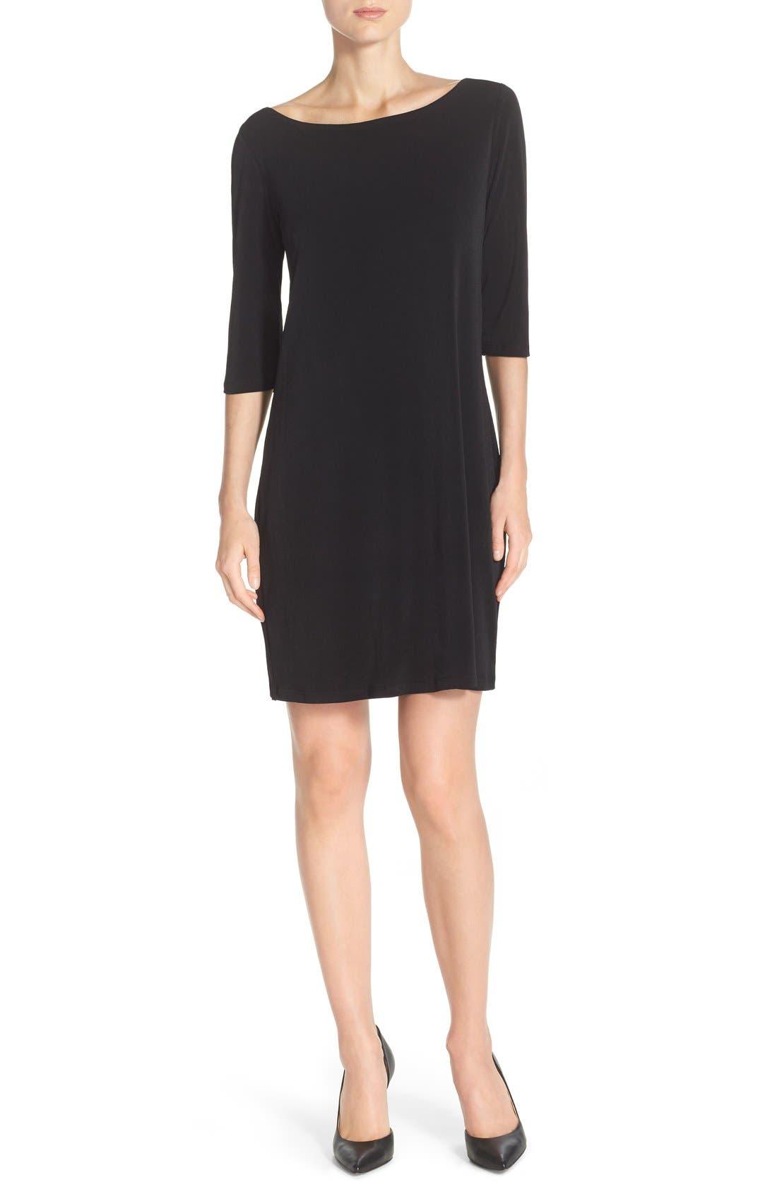 Dolman Sleeve Jersey Sheath Dress,                             Alternate thumbnail 5, color,                             BLACK