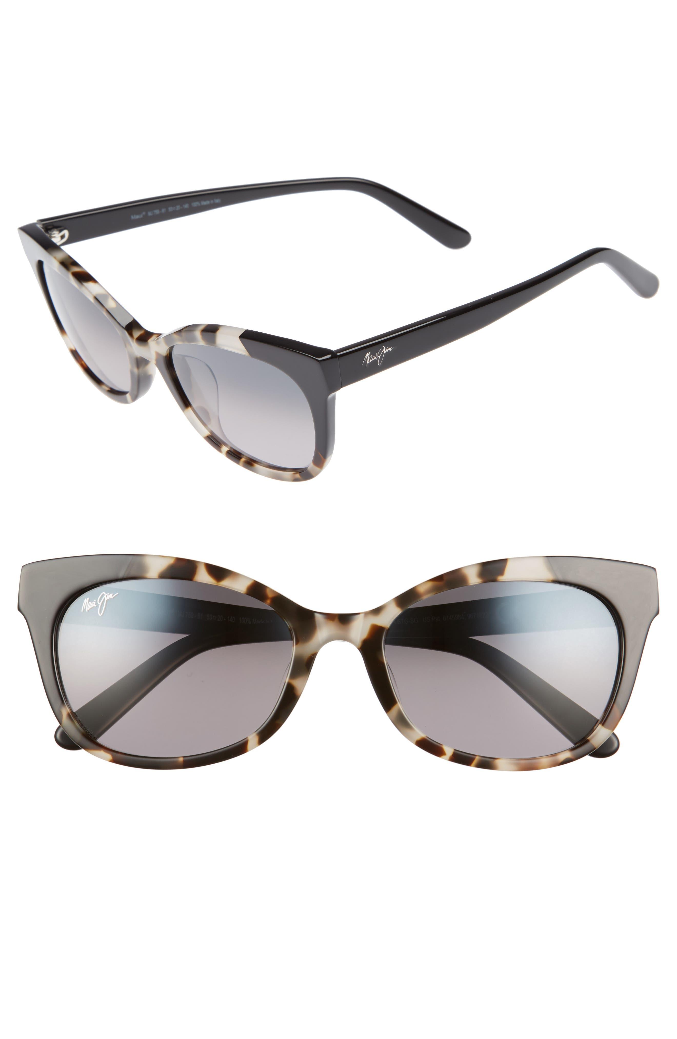 Ilima 53mm PolarizedPlus2<sup>®</sup> Cat Eye Sunglasses,                             Main thumbnail 1, color,                             WHITE TOKYO/ GLOSS BLACK