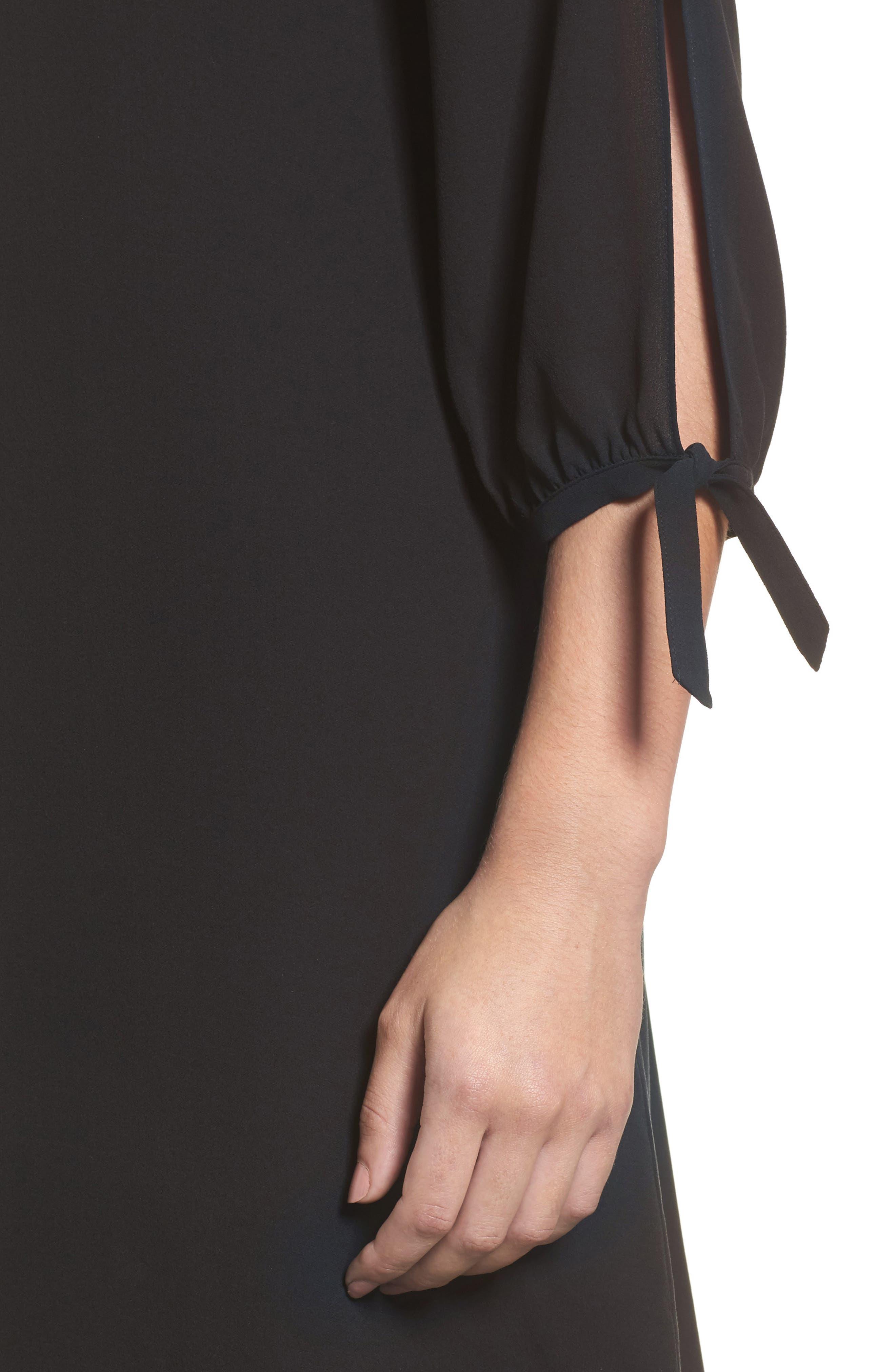 Silk Shift Dress,                             Alternate thumbnail 4, color,                             001