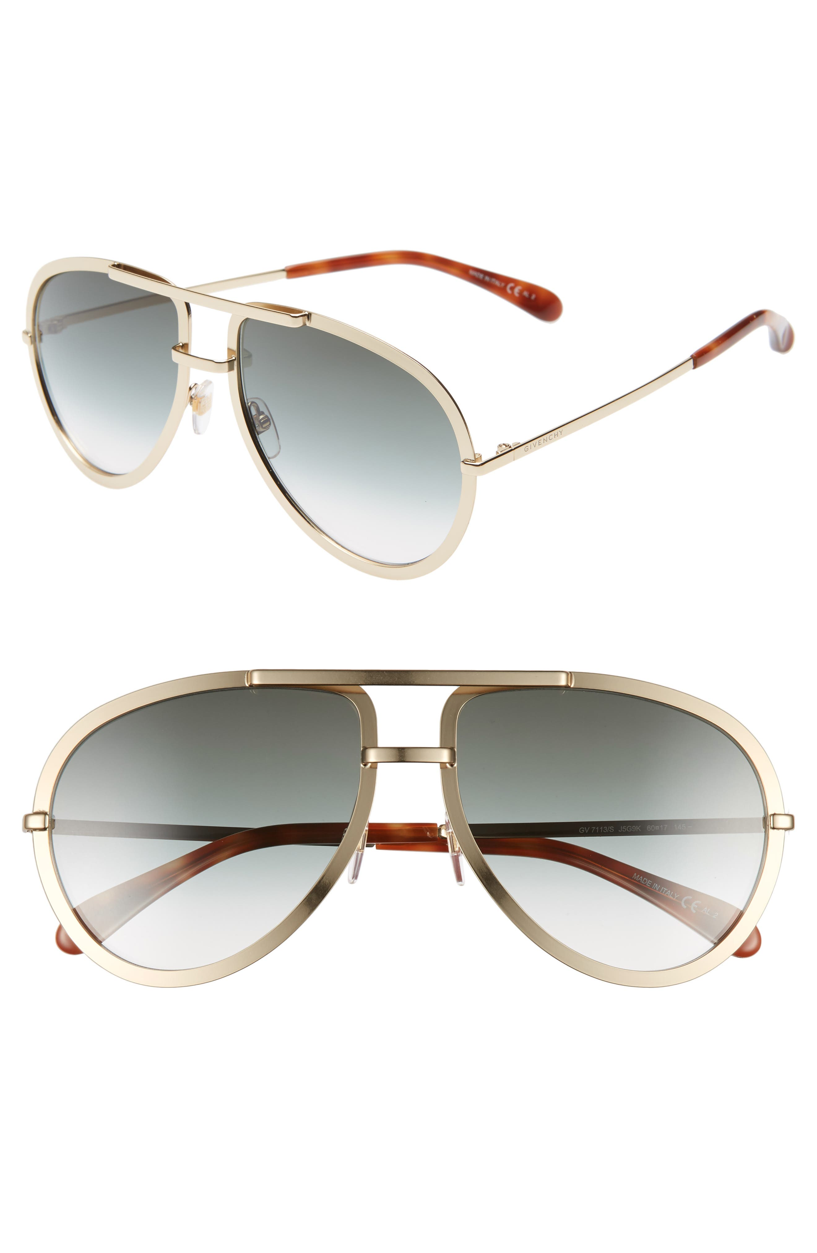 Givenchy 60Mm Aviator Sunglasses - Gold