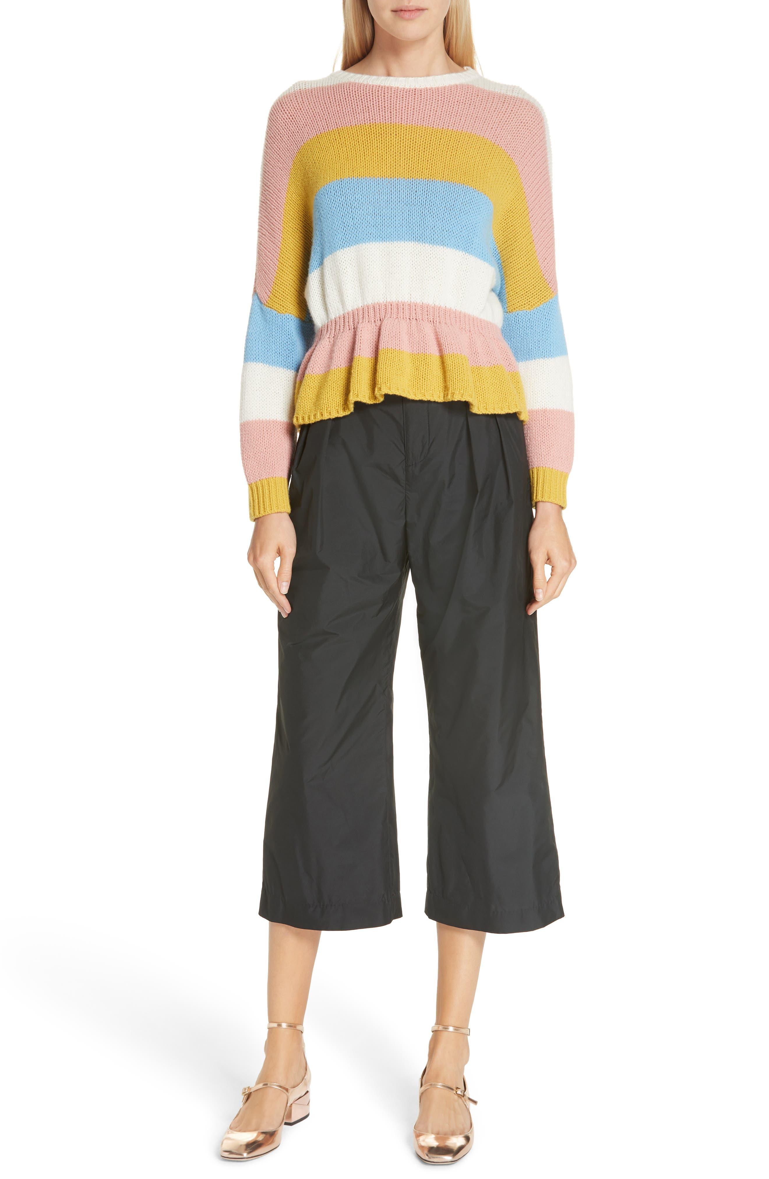 Belted Pleat Front Pants,                             Alternate thumbnail 7, color,                             BLACK