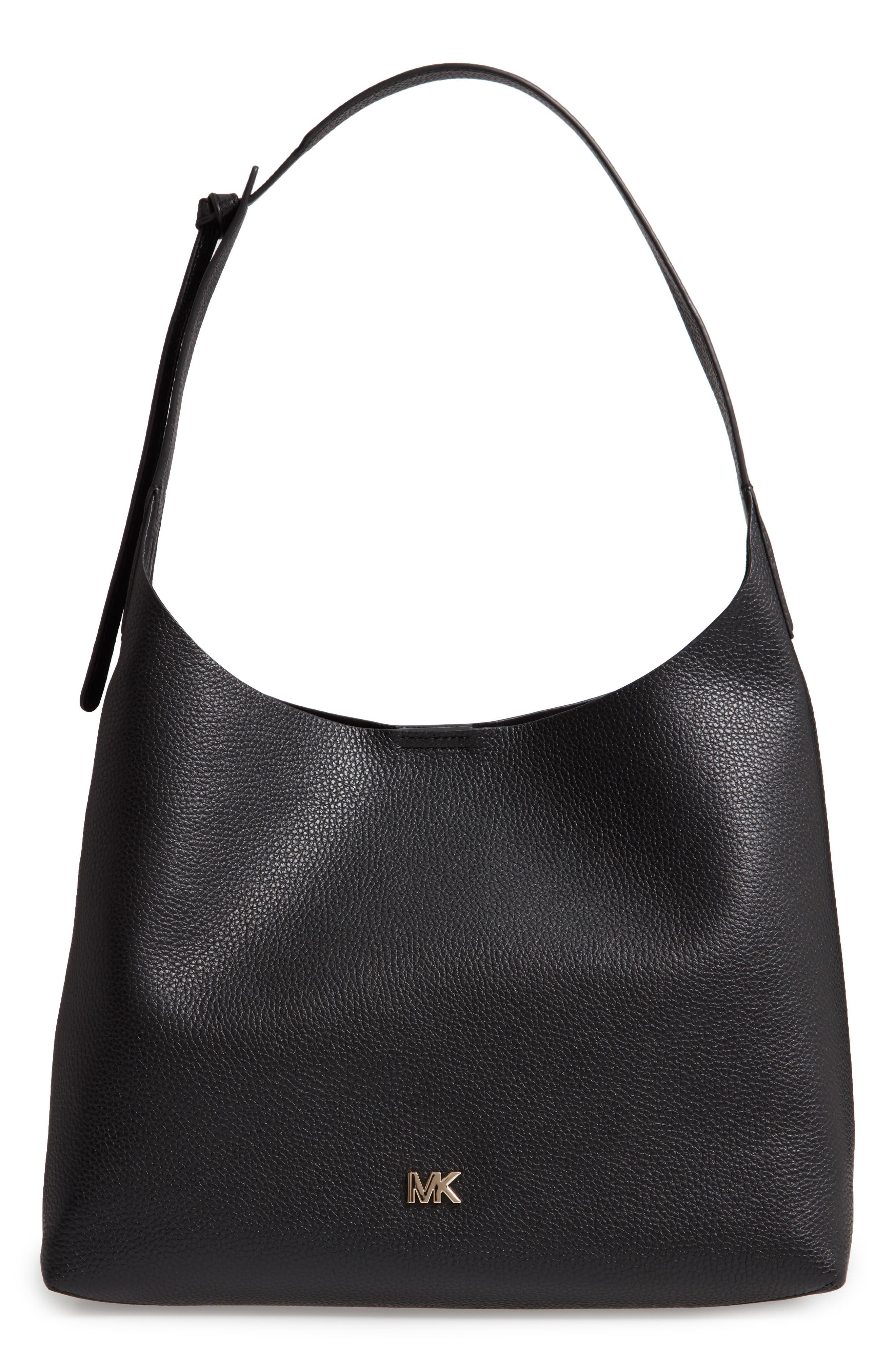 Medium Leather Hobo,                         Main,                         color, BLACK