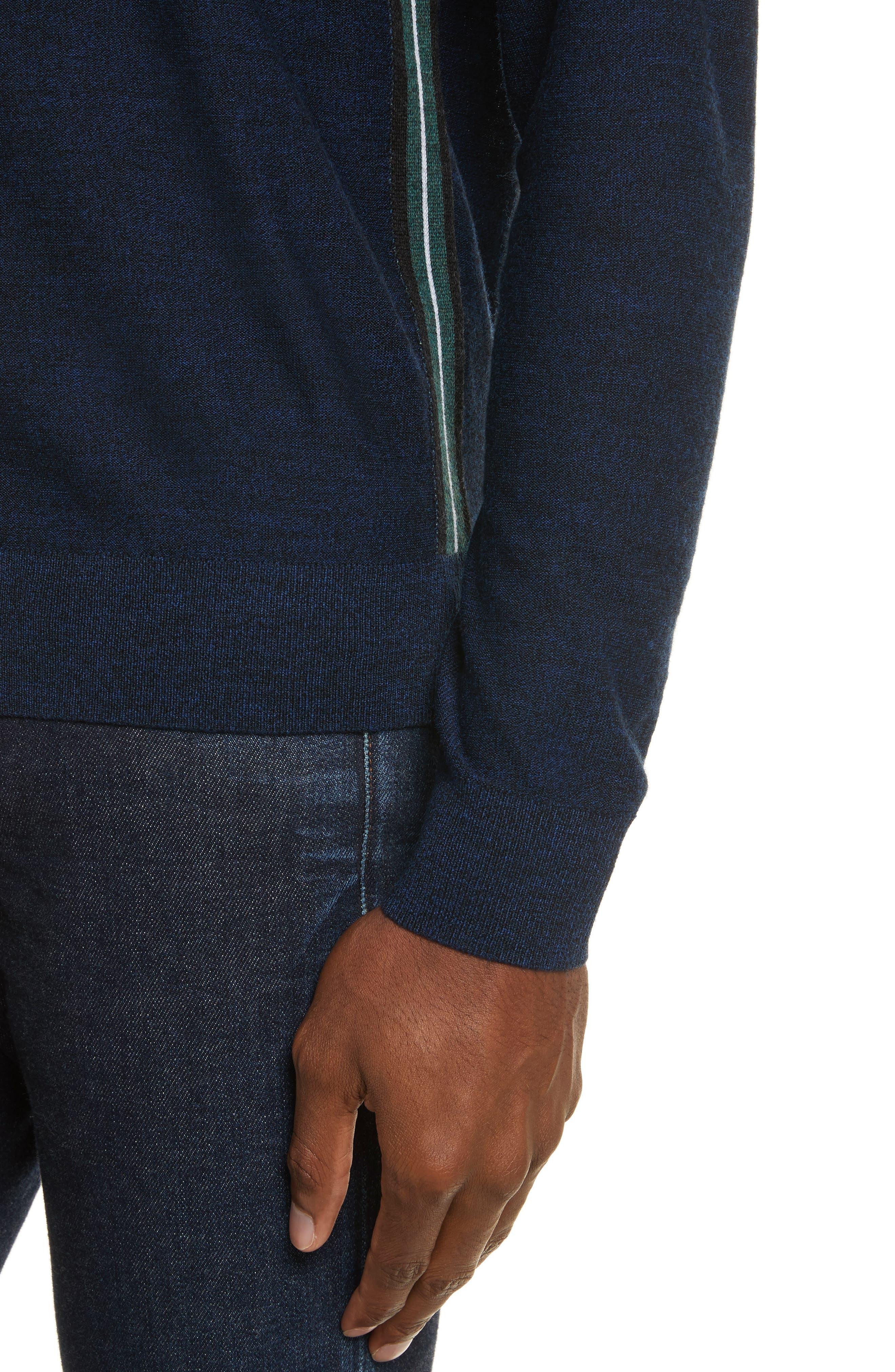 Side Stripe Merino Wool Sweater,                             Alternate thumbnail 4, color,                             410