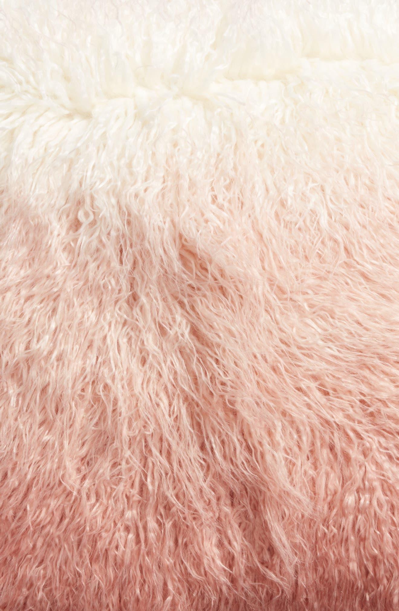 Ombré Faux Fur Flokati Accent Pillow,                             Alternate thumbnail 14, color,