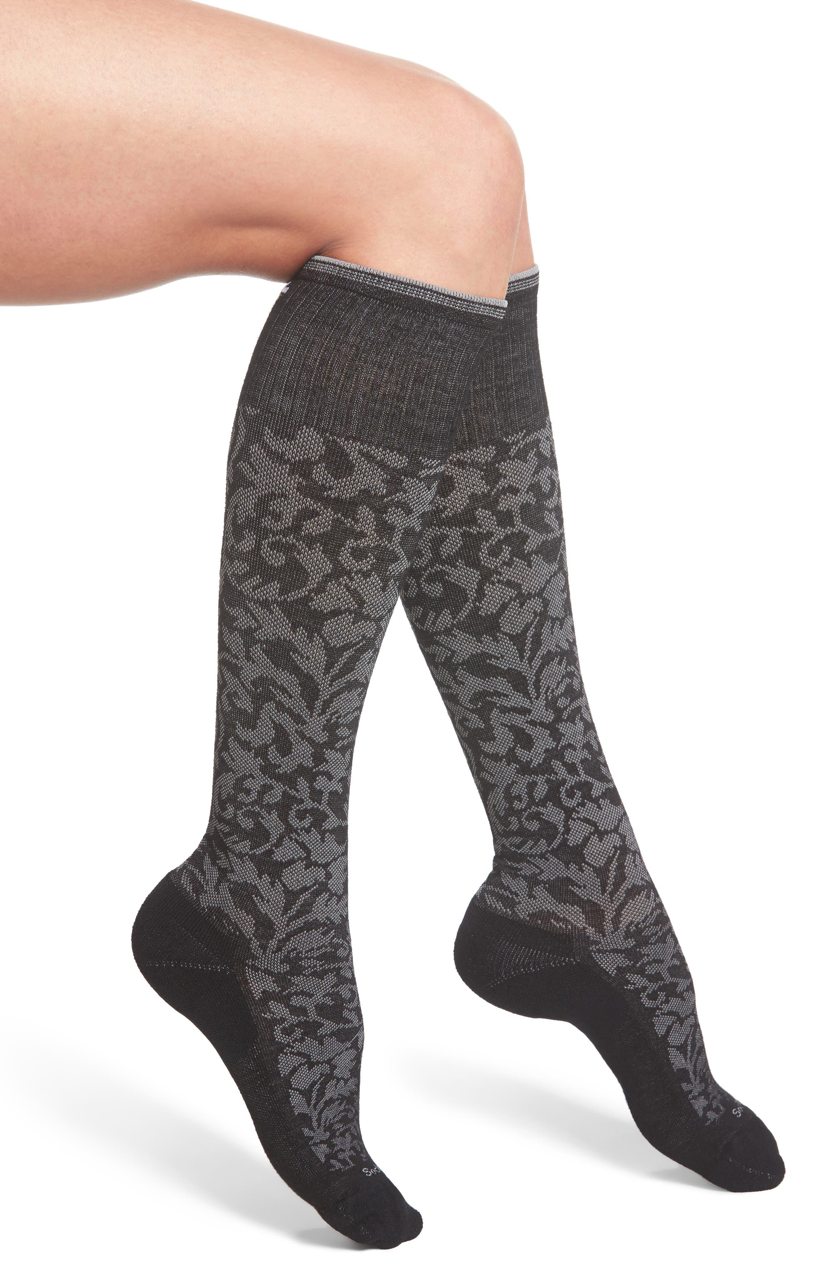 'Damask' Compression Socks,                         Main,                         color, 001