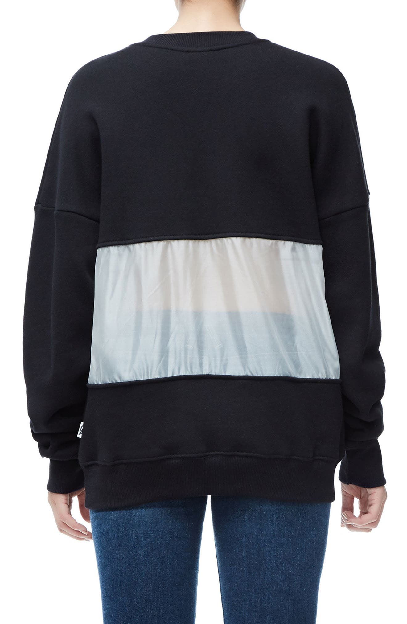Mixed Media Oversize Sweatshirt,                             Alternate thumbnail 3, color,