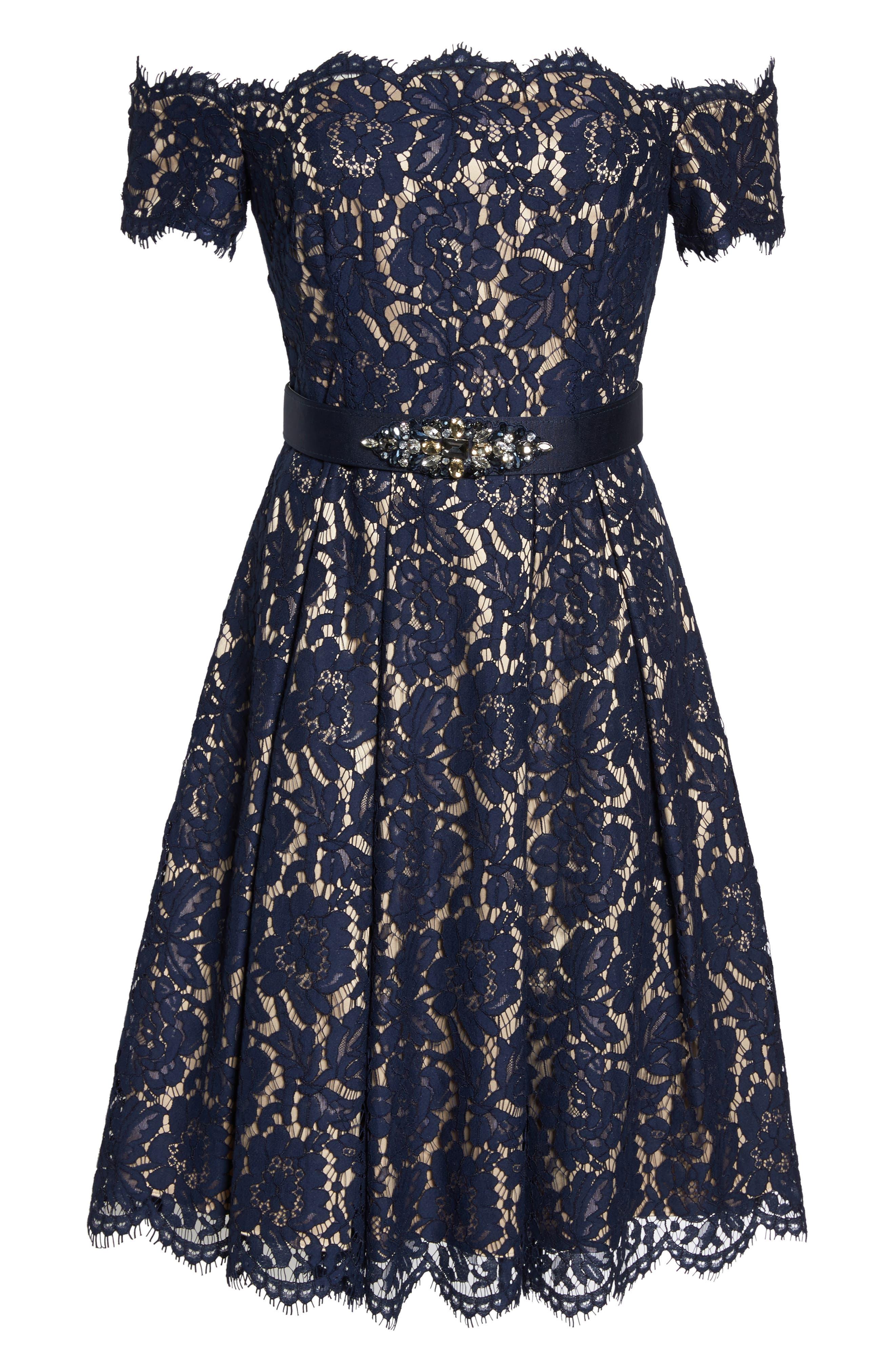 Embellished Lace Fit & Flare Dress,                             Alternate thumbnail 6, color,                             NAVY