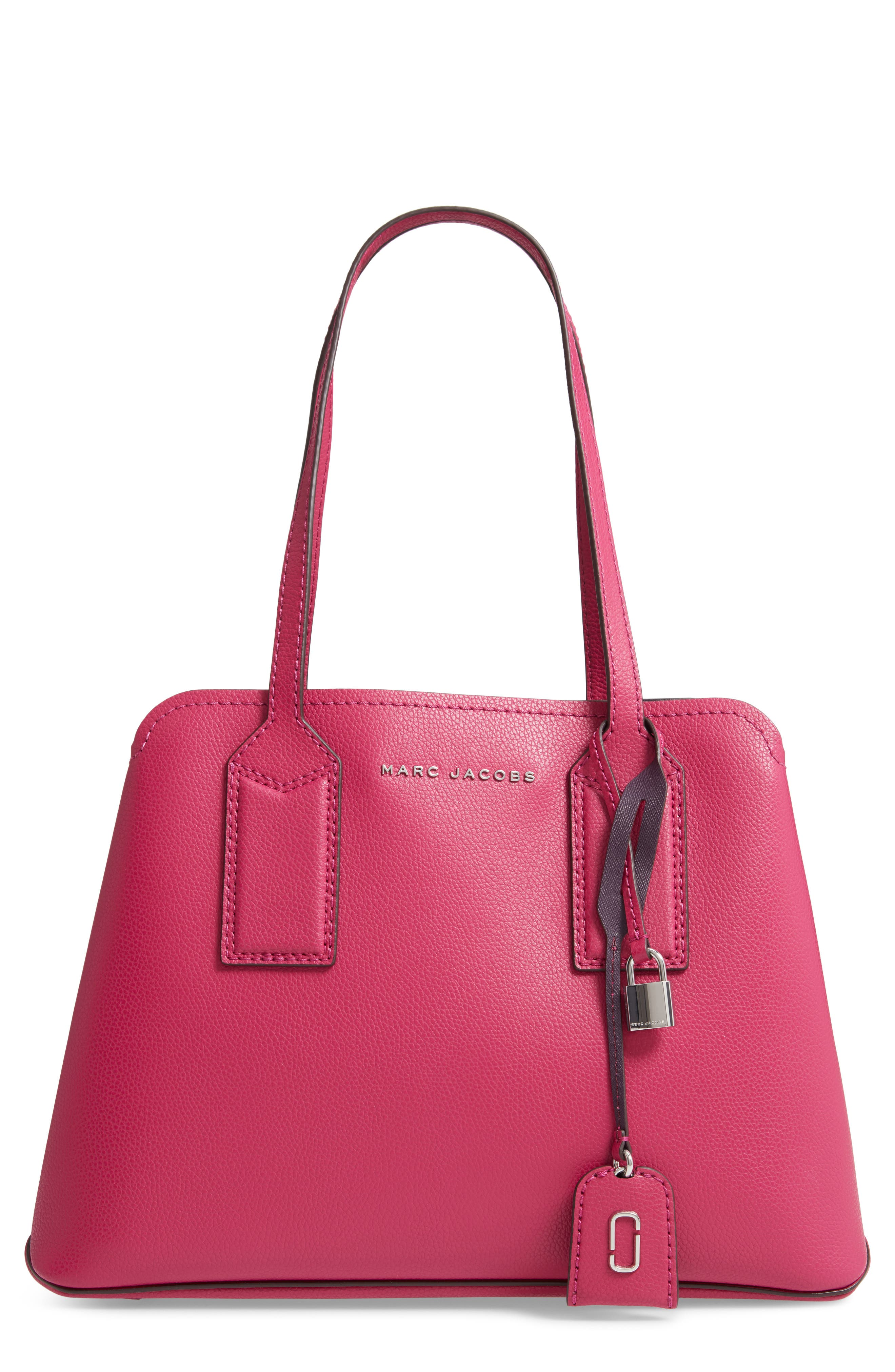 MARC JACOBS THE EDITOR LEATHER TOTE - PURPLE