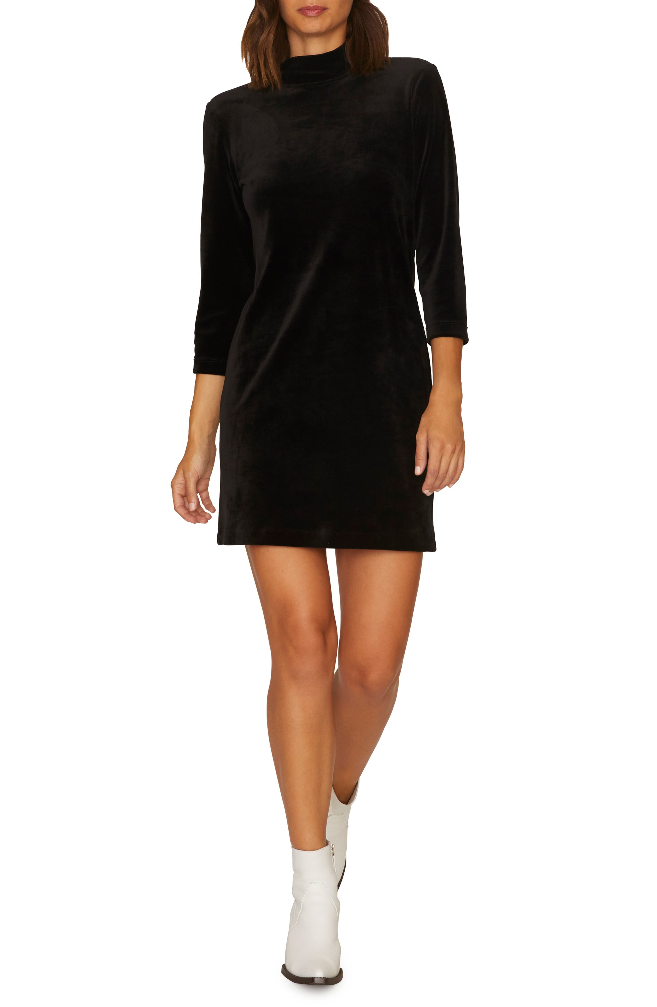 Endless Night Velour Dress,                             Alternate thumbnail 4, color,                             BLACK