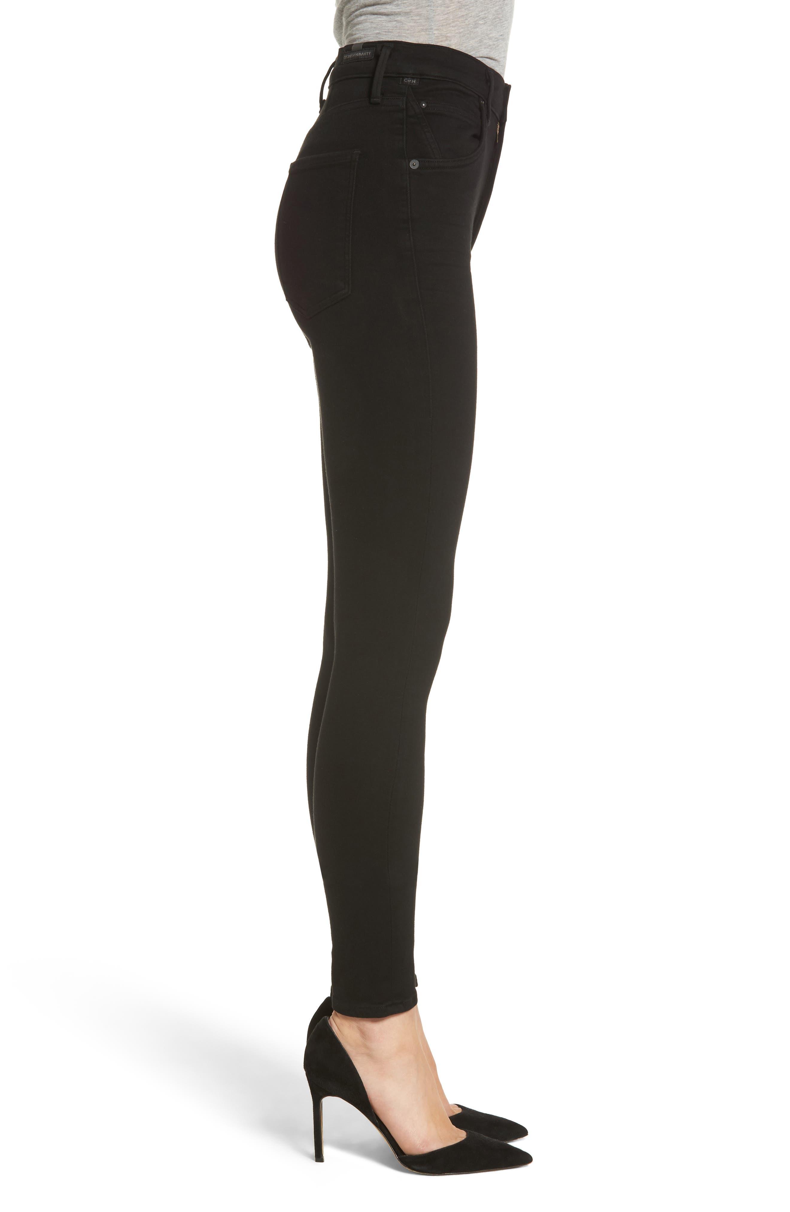 Chrissy High Waist Skinny Jeans,                             Alternate thumbnail 3, color,                             ALL BLACK