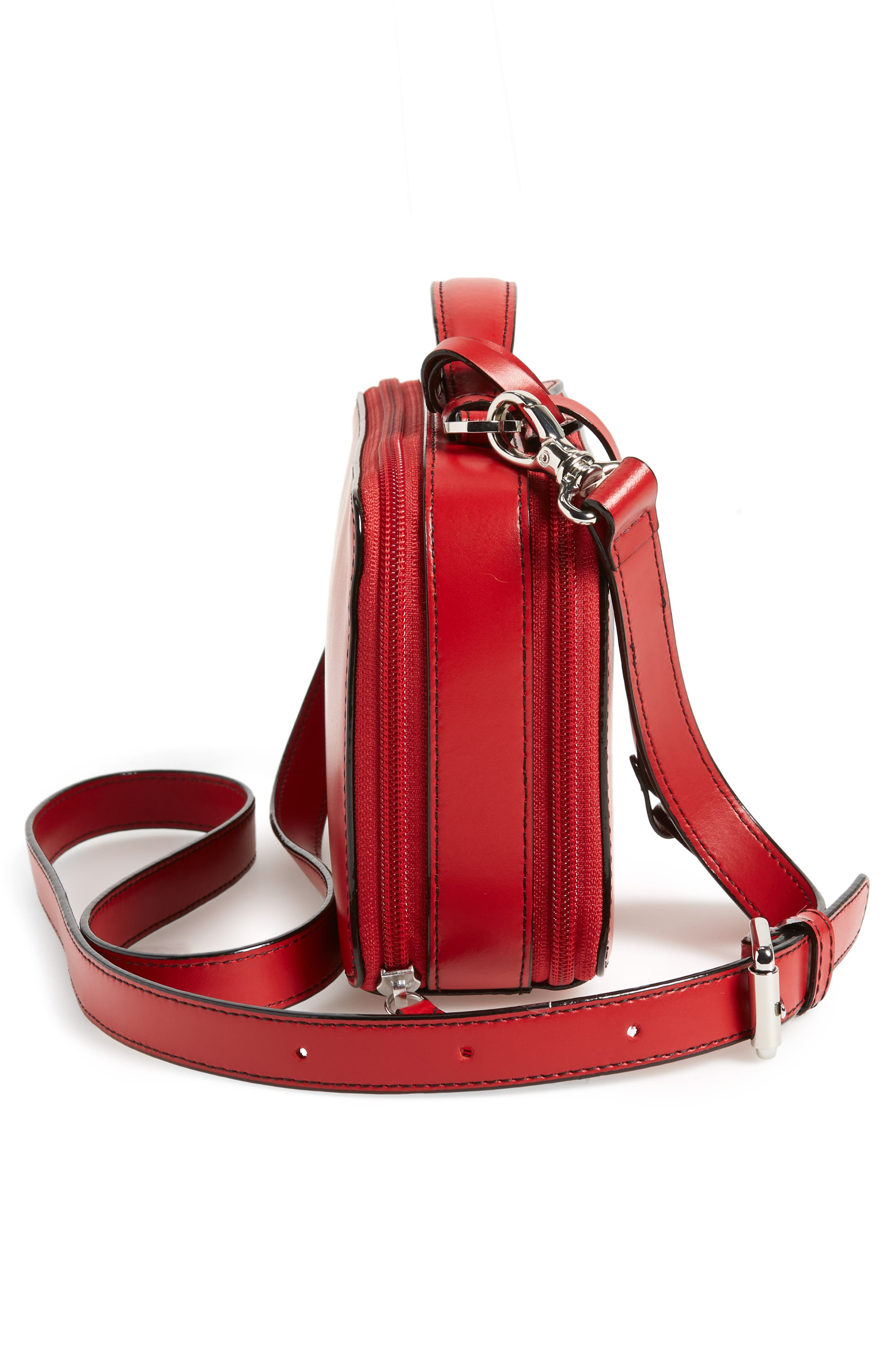 Downtown Sally RFID Zip-Around Leather Crossbody Bag,                             Alternate thumbnail 5, color,                             RED