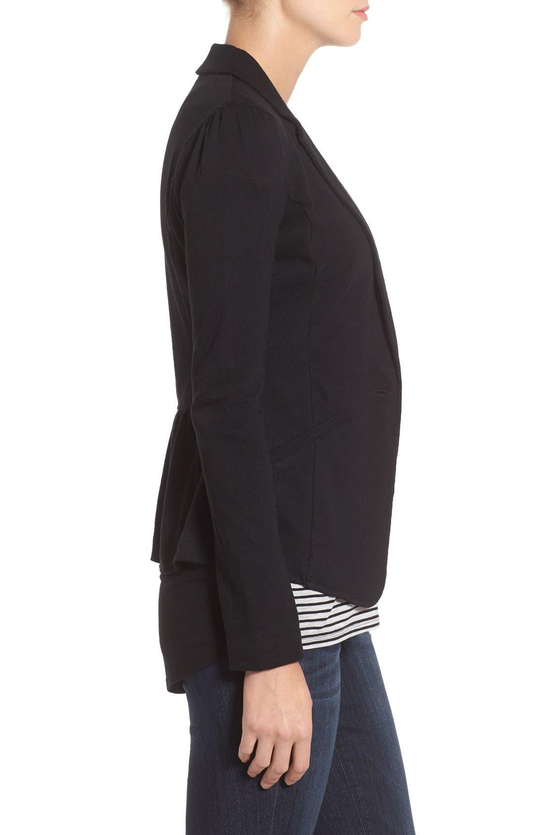 CASLON<SUP>®</SUP>,                             Knit One-Button Blazer,                             Alternate thumbnail 9, color,                             BLACK