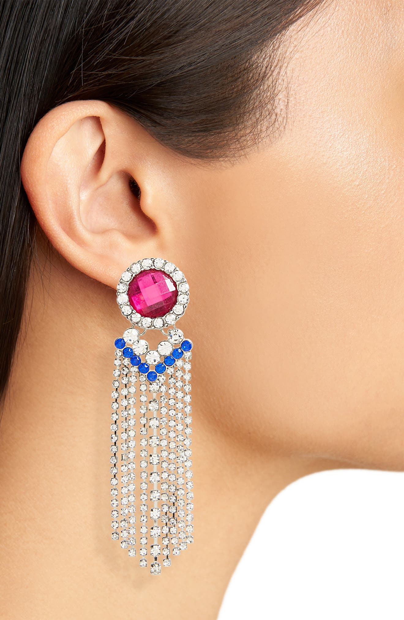 Crystal Fringe Earrings,                             Alternate thumbnail 2, color,                             040