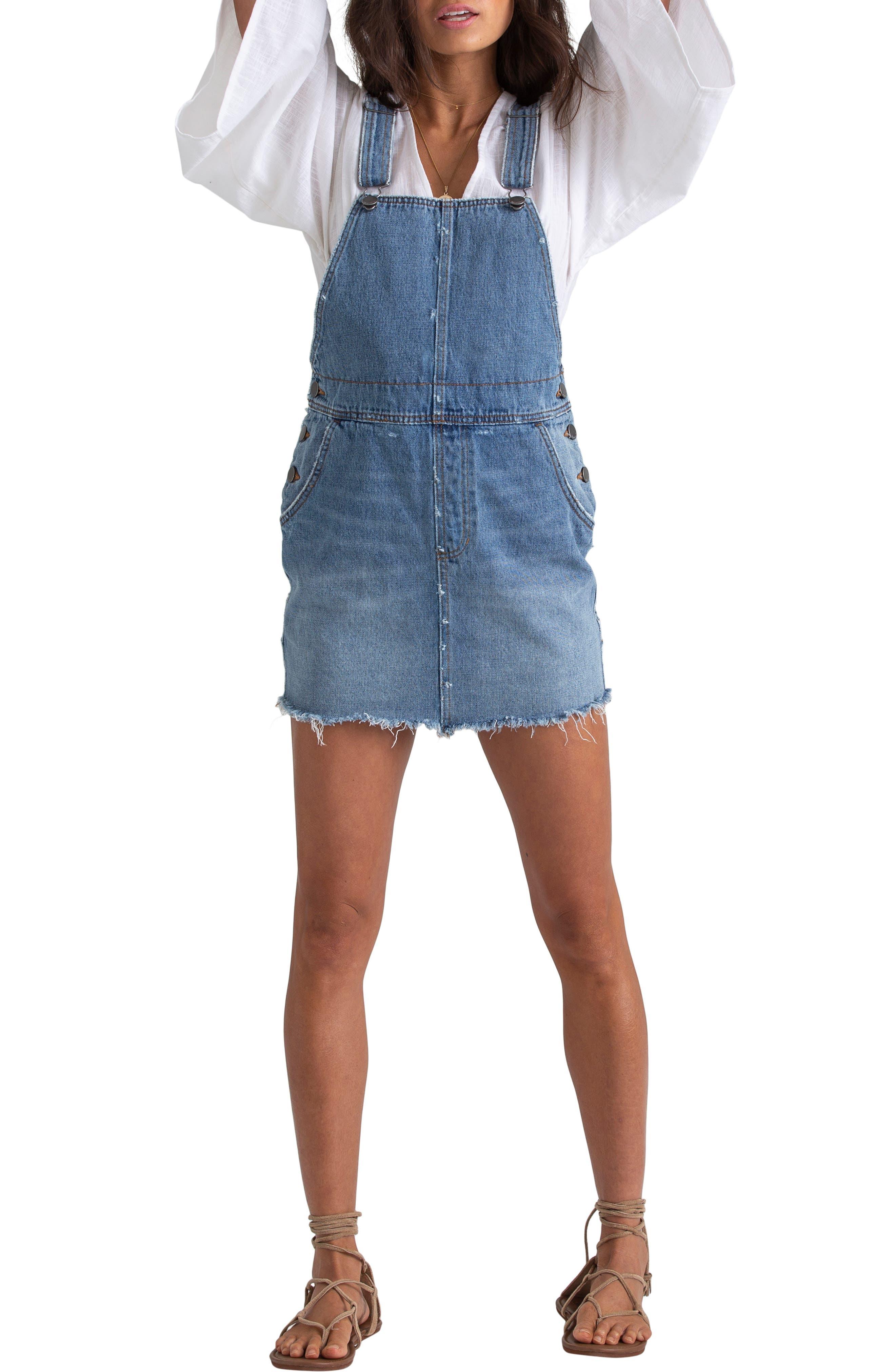 Billabong X Sincerely Jules Fade Away Denim Pinafore Dress, Blue